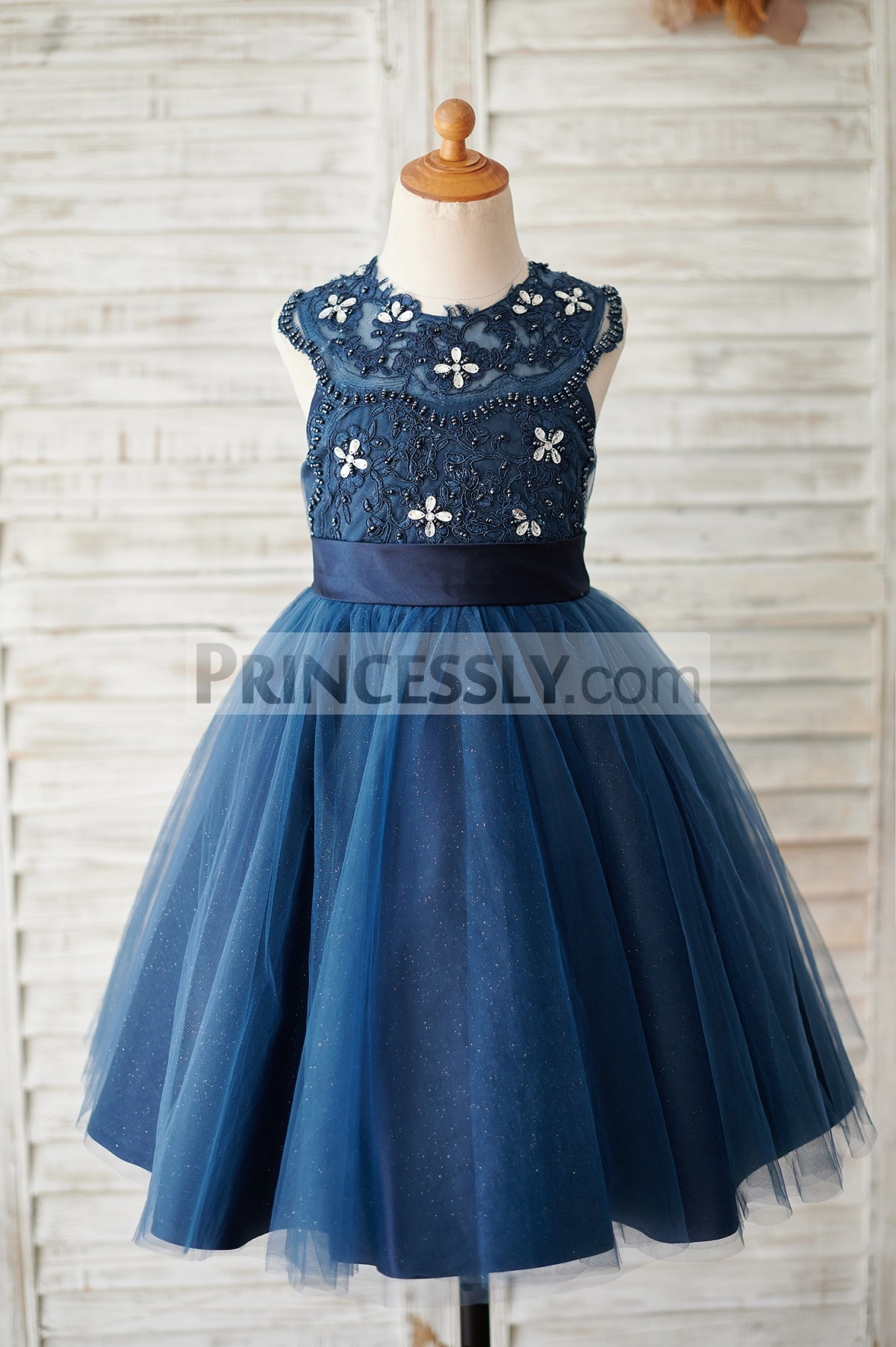 Beading work navy blue lace tulle wedding baby girl dress