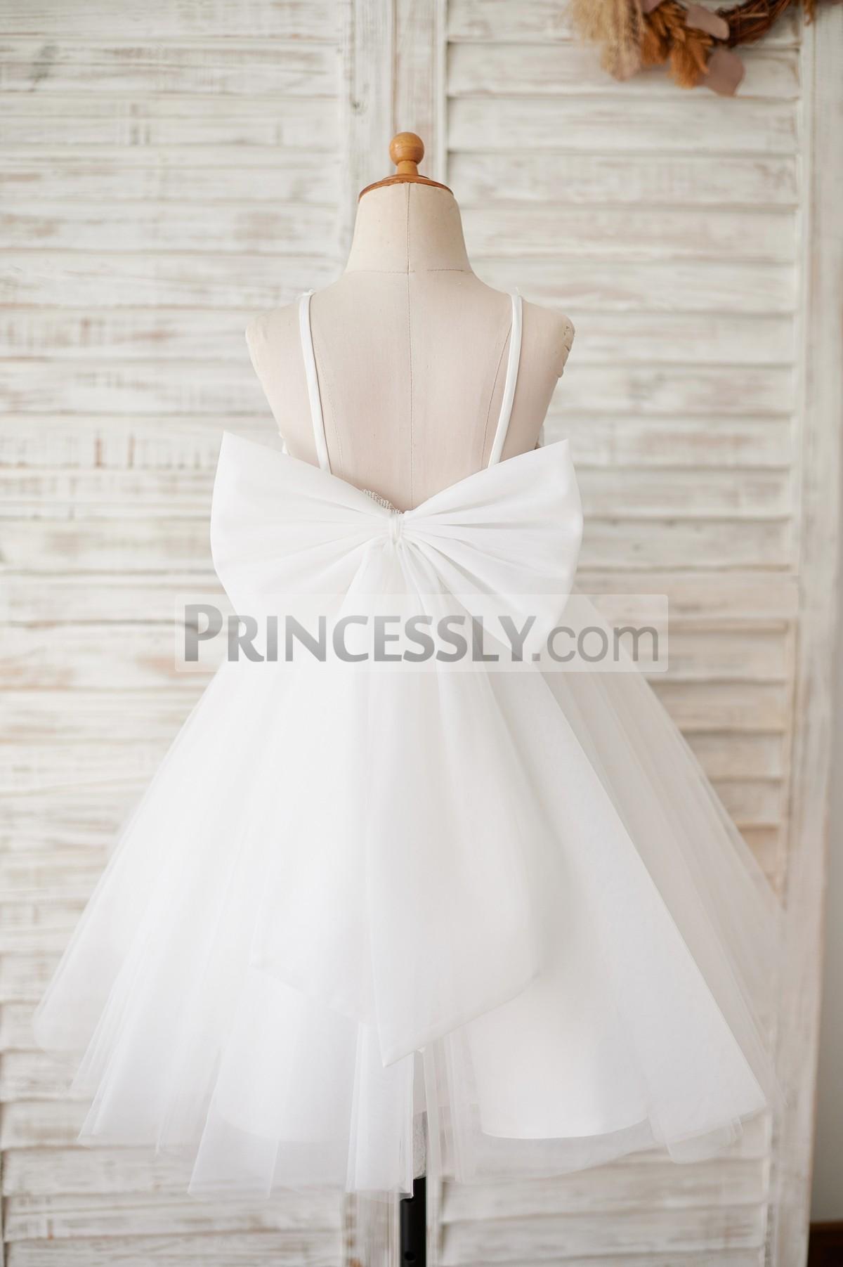 Spaghetti straps backless ivory wedding baby girl dress