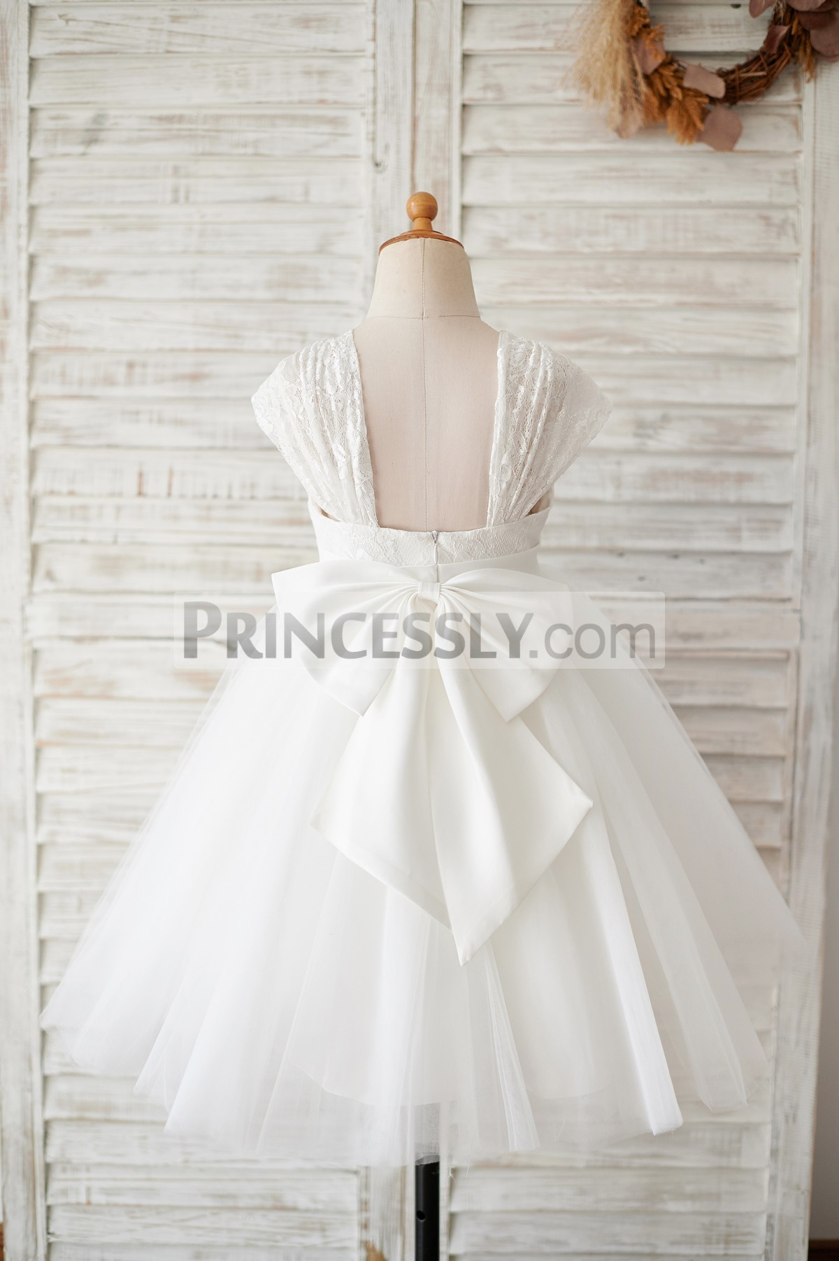 Open back ivory tulle wedding baby girl dress
