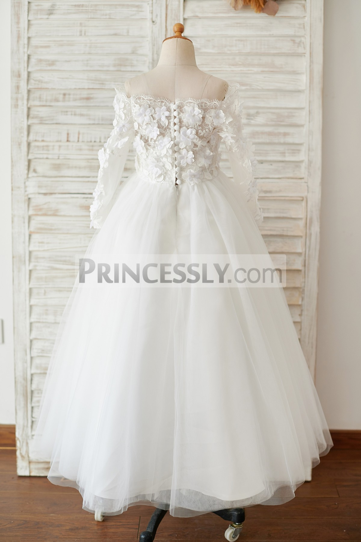 Long lace sleeves lace tulle ivory wedding baby girl dress with flowers appliques