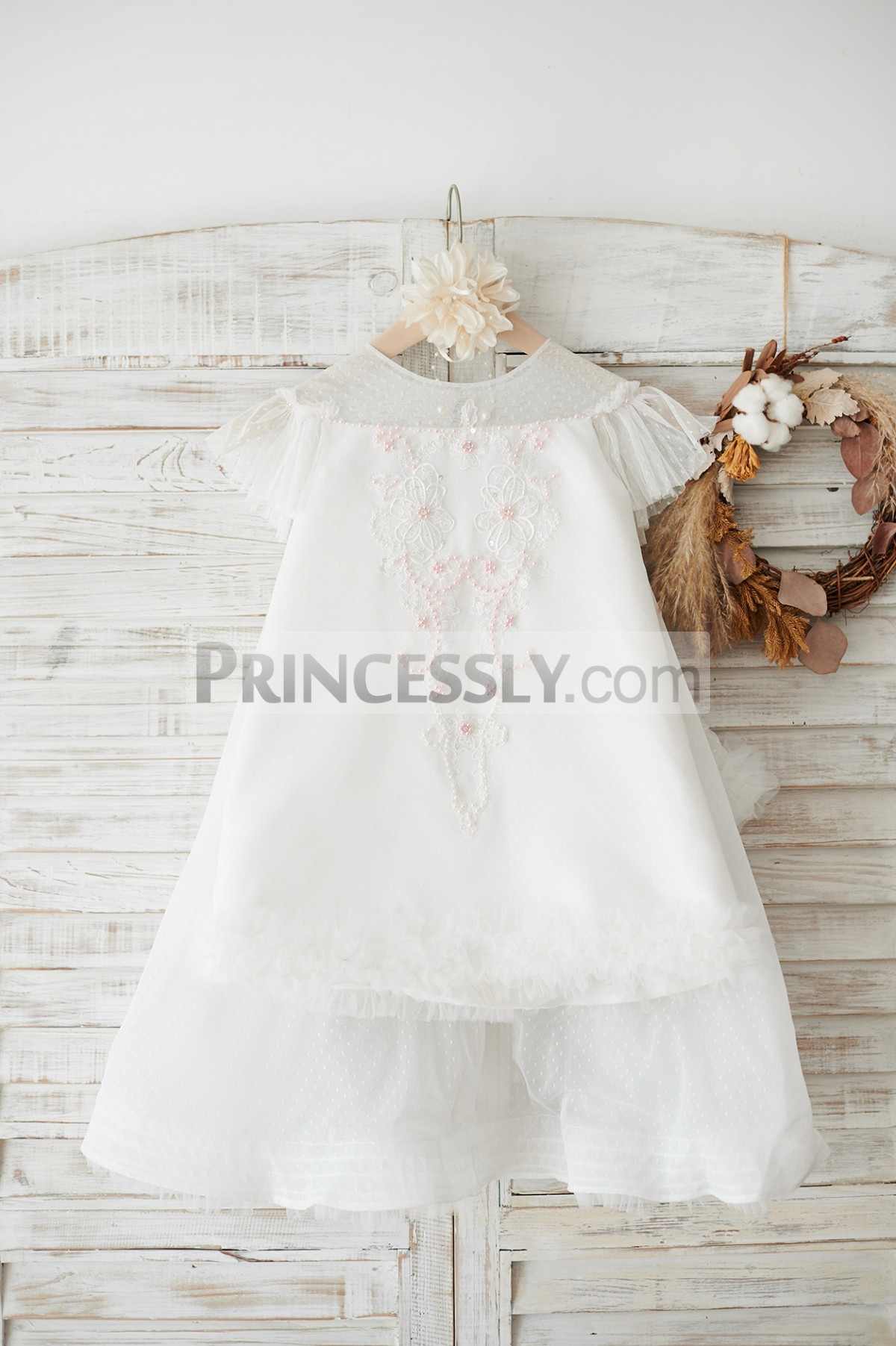 Polka dot tulle ivory flower girl dress