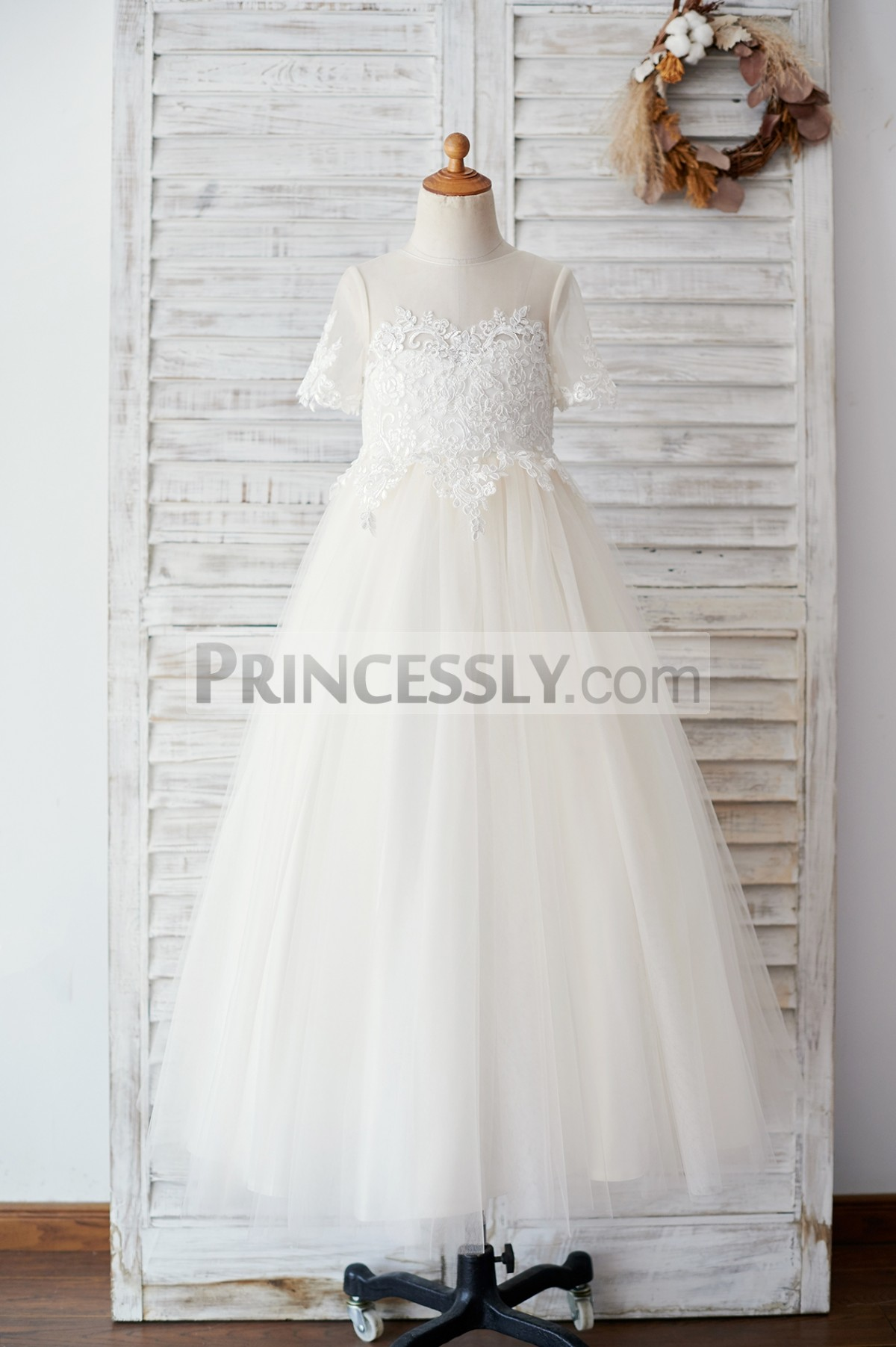 Sheer neck champagne tulle floor length flower girl dress