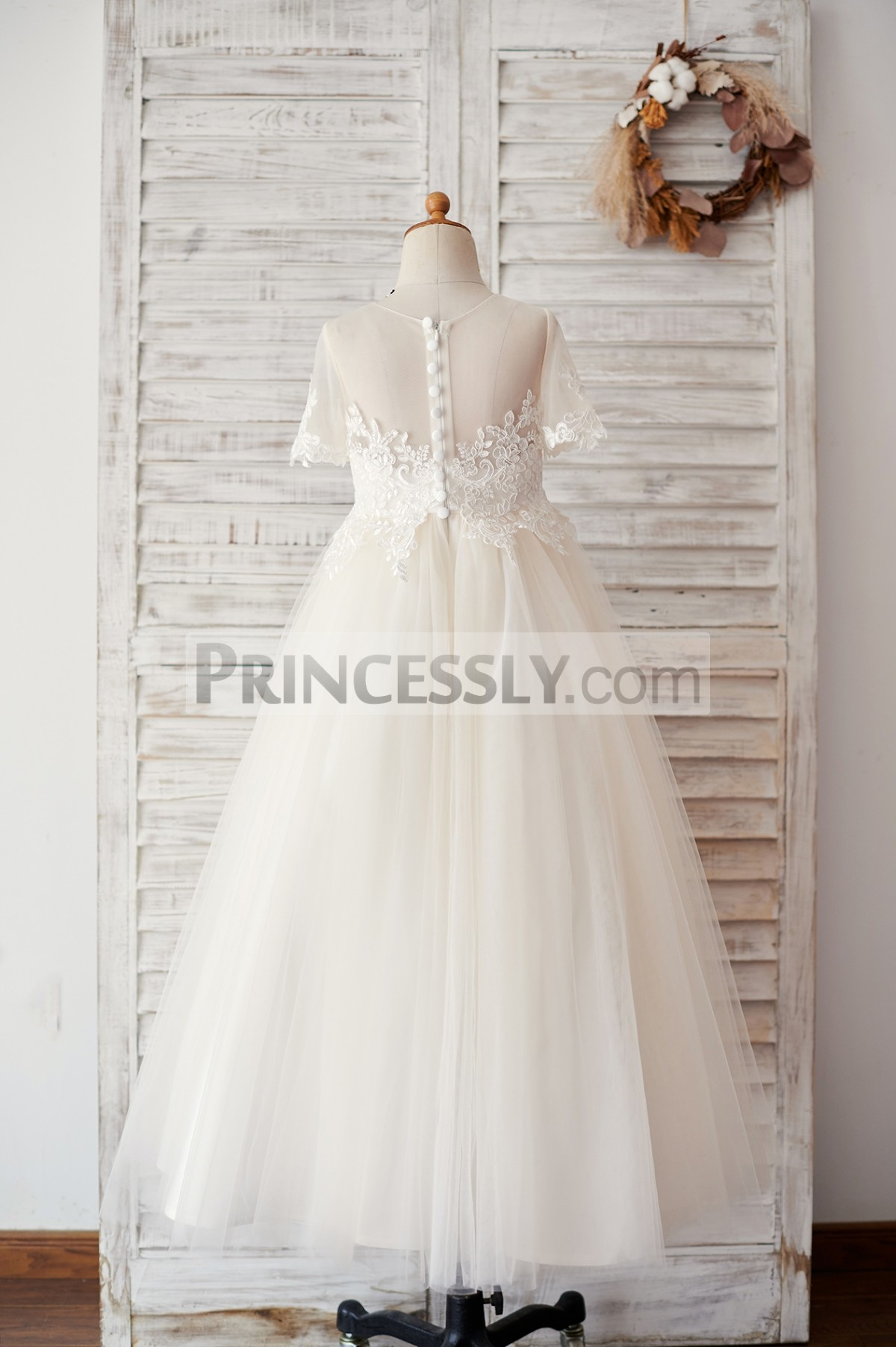 Floor length champagne tulle wedding baby girl dress