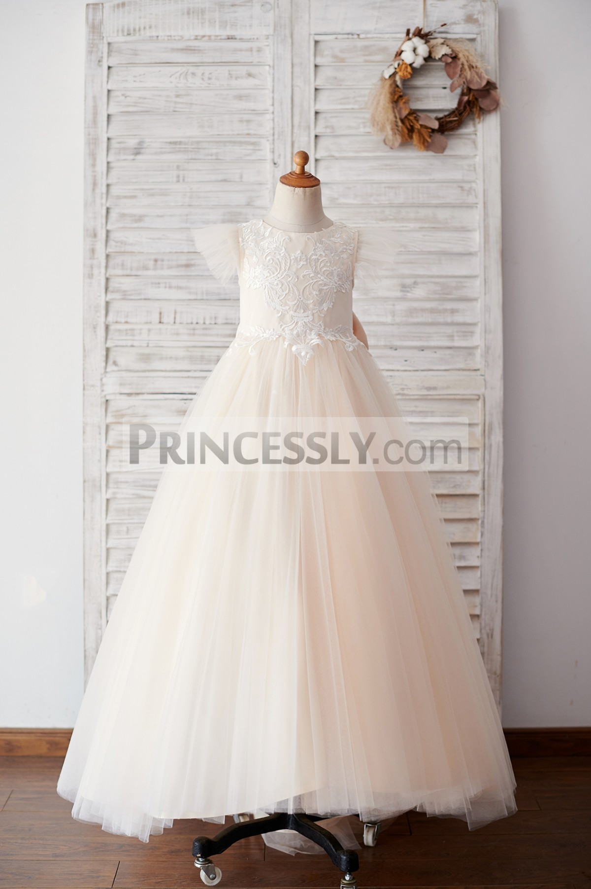 Ruffles tulle cap sleeves champagne tulle flower girl dress