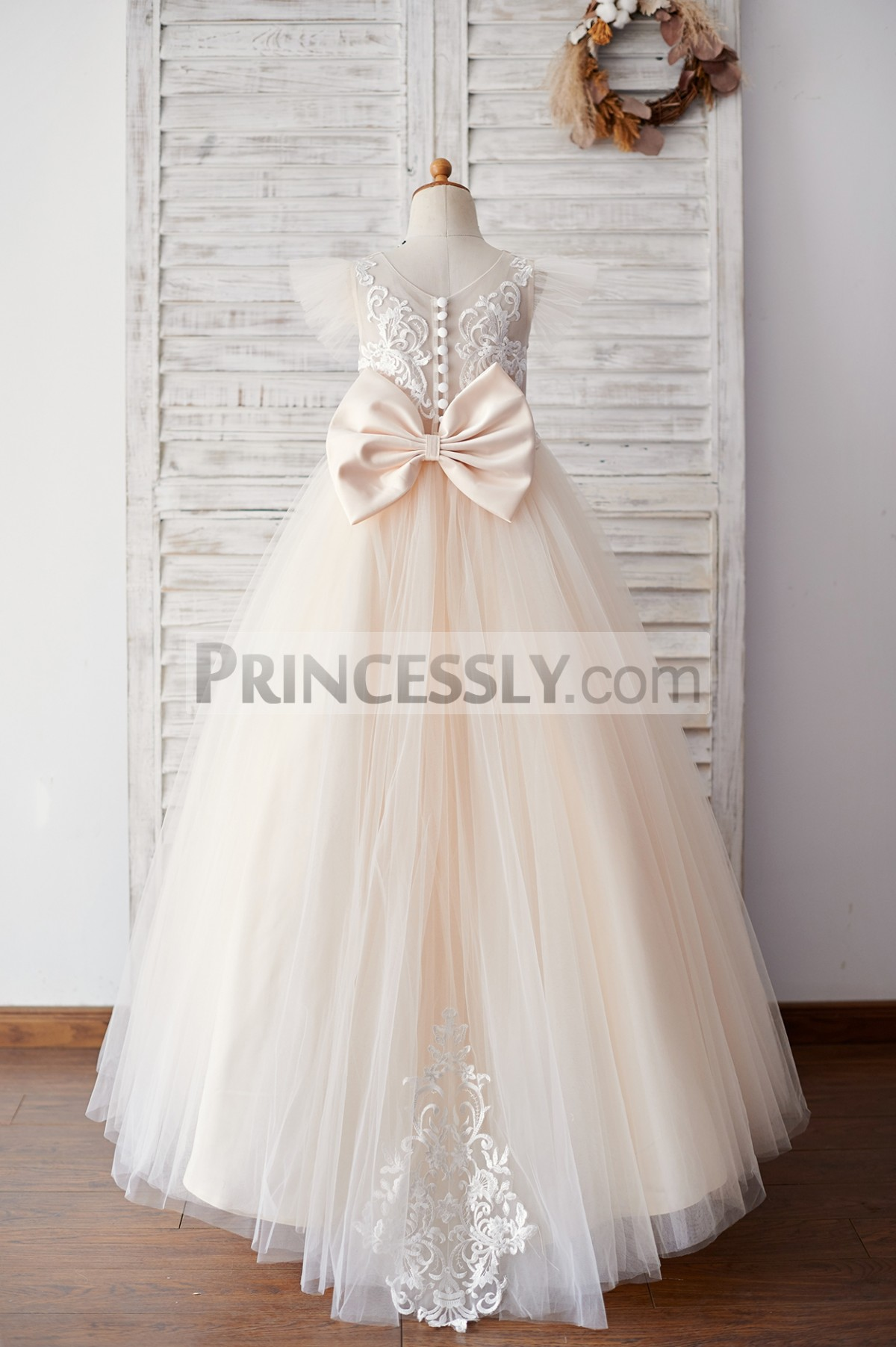Sheer lace back tulle floor length wedding baby girl dress