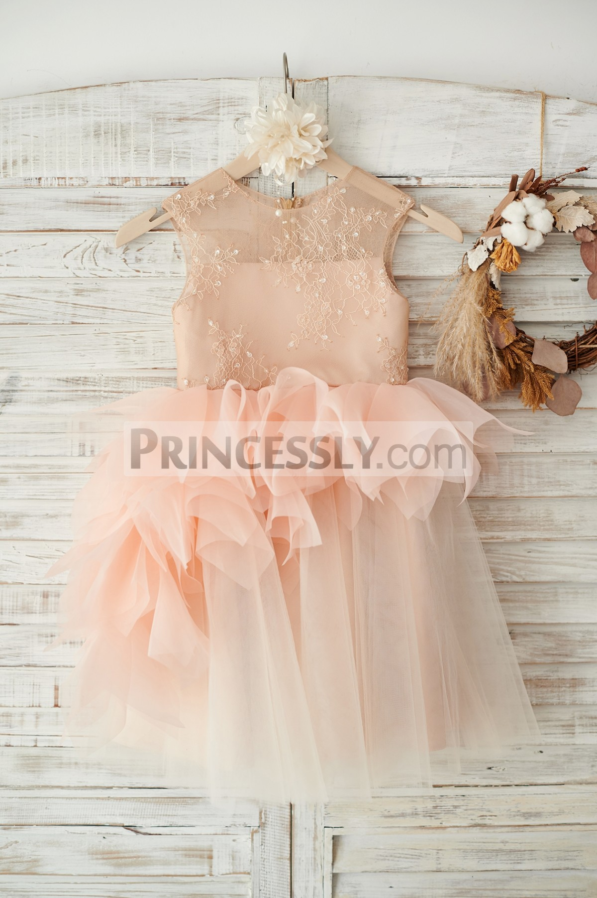 Sheer lace neck inside straight lining organza tulle flower girl dress