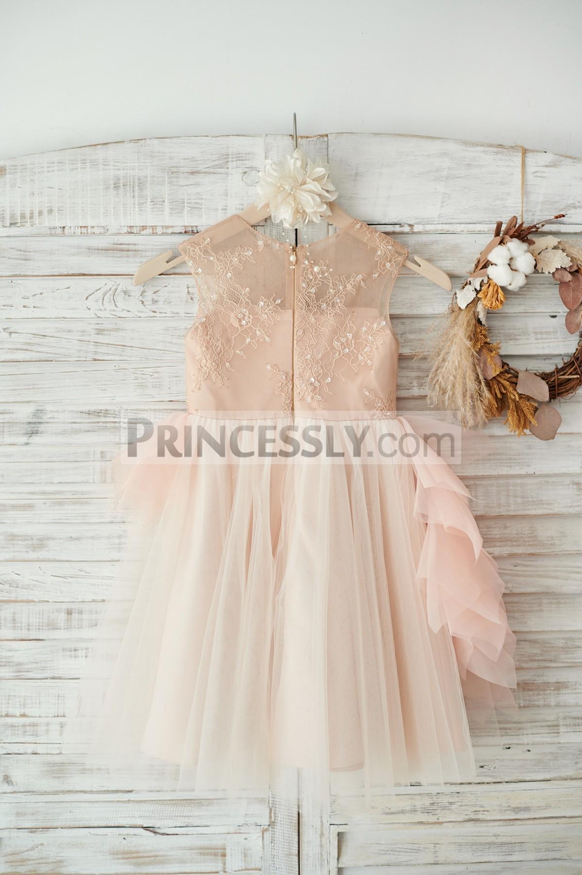 Sheer lace back tulle wedding baby girl dress