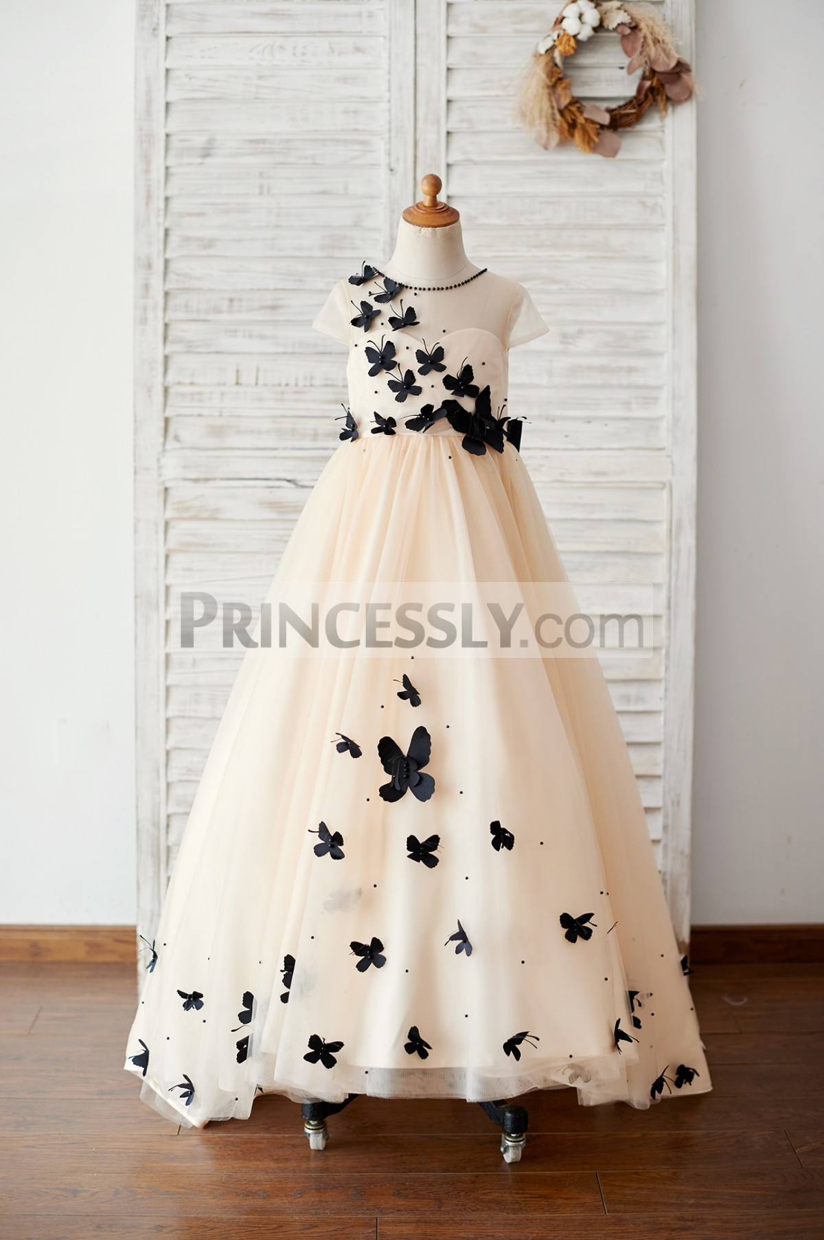 Champagne tulle floor length wedding baby girl dress