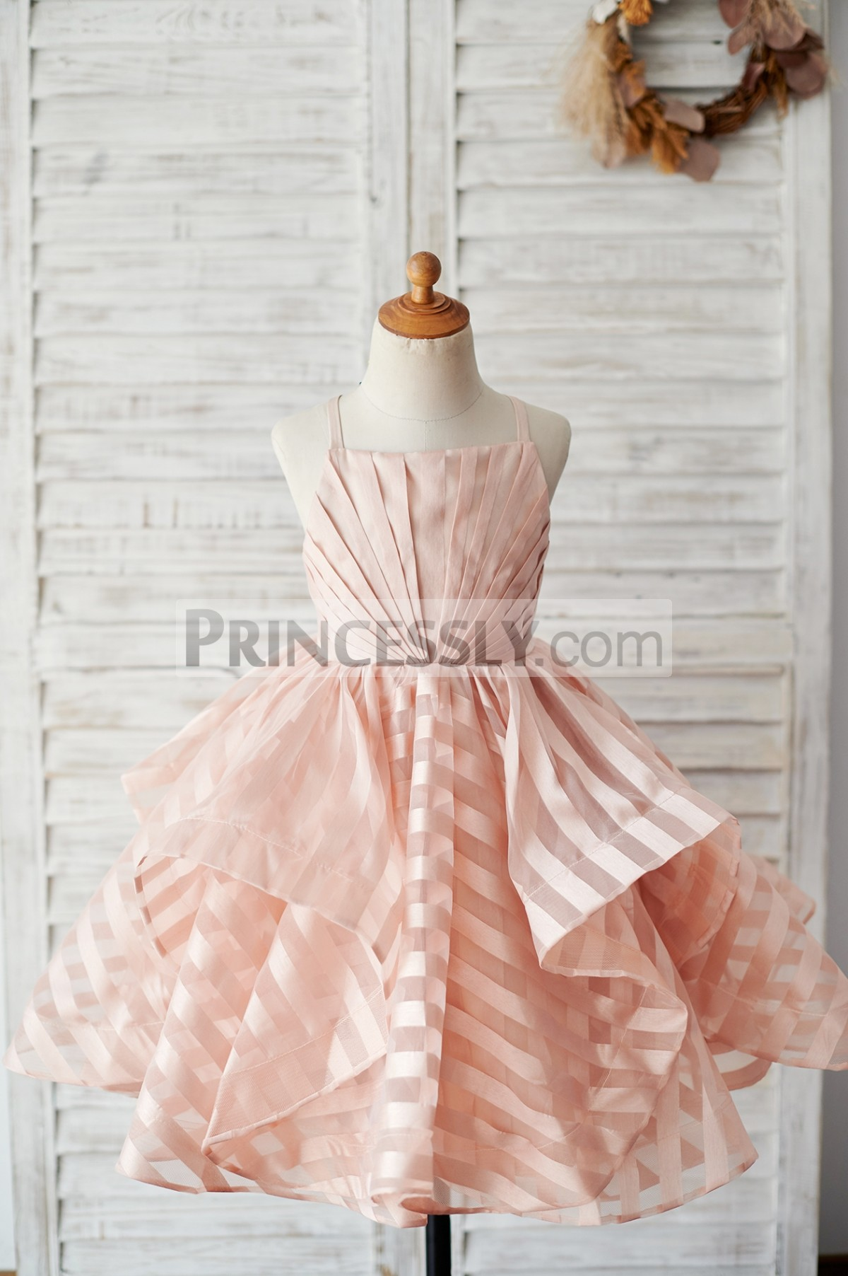 Pleated bodice big wavy peach pink stripes organza flower girl dress