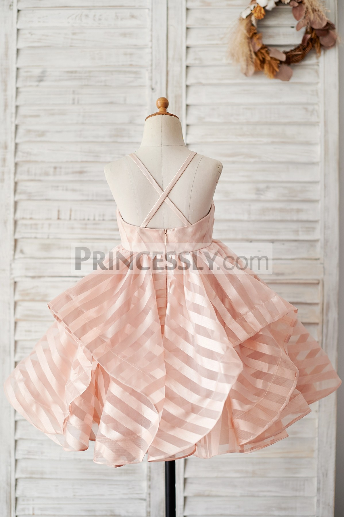 Spaghetti straps cross back peach pink stripes organza wedding baby girl dress
