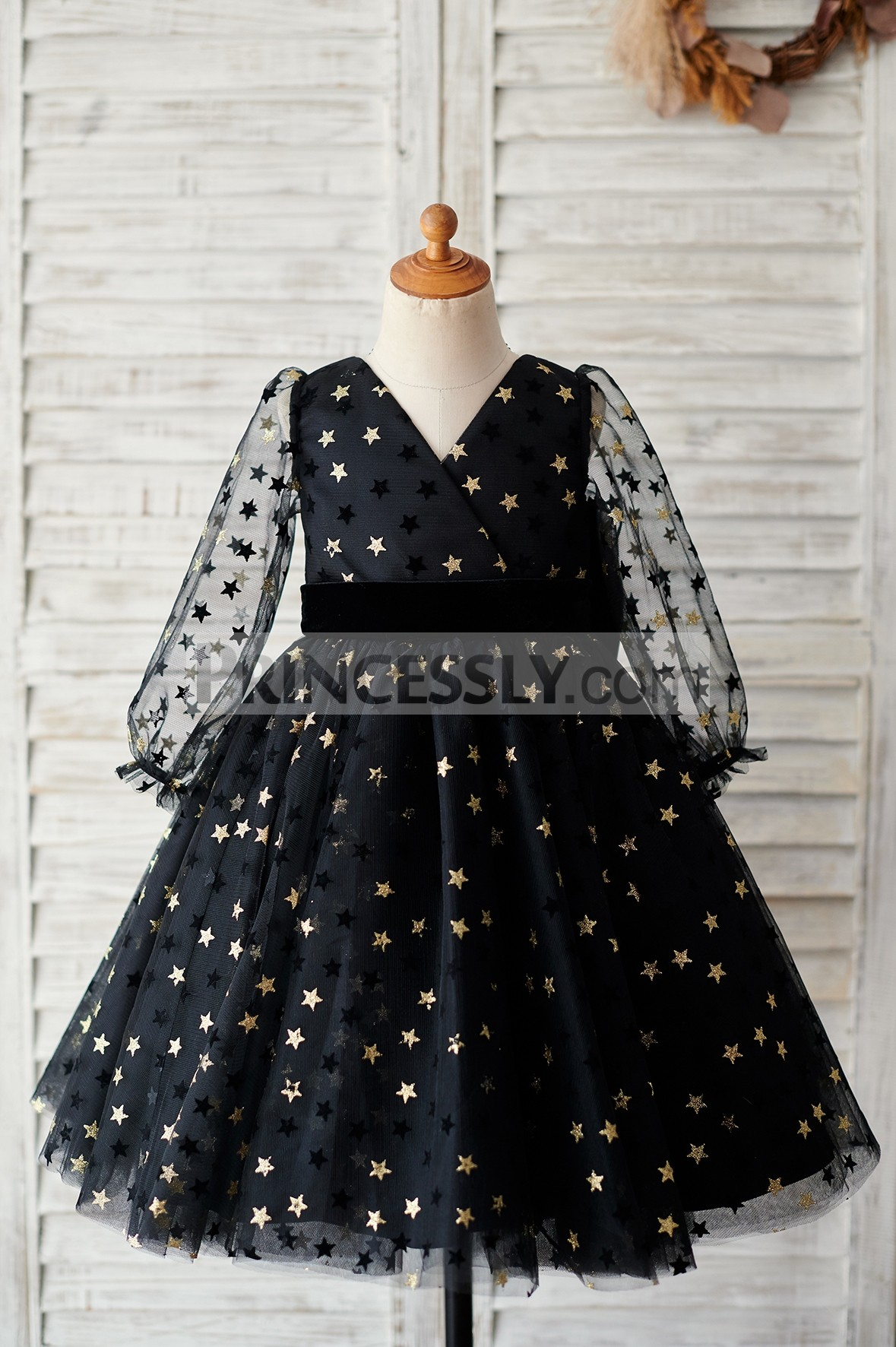 Golden stars black tulle flower girl dress