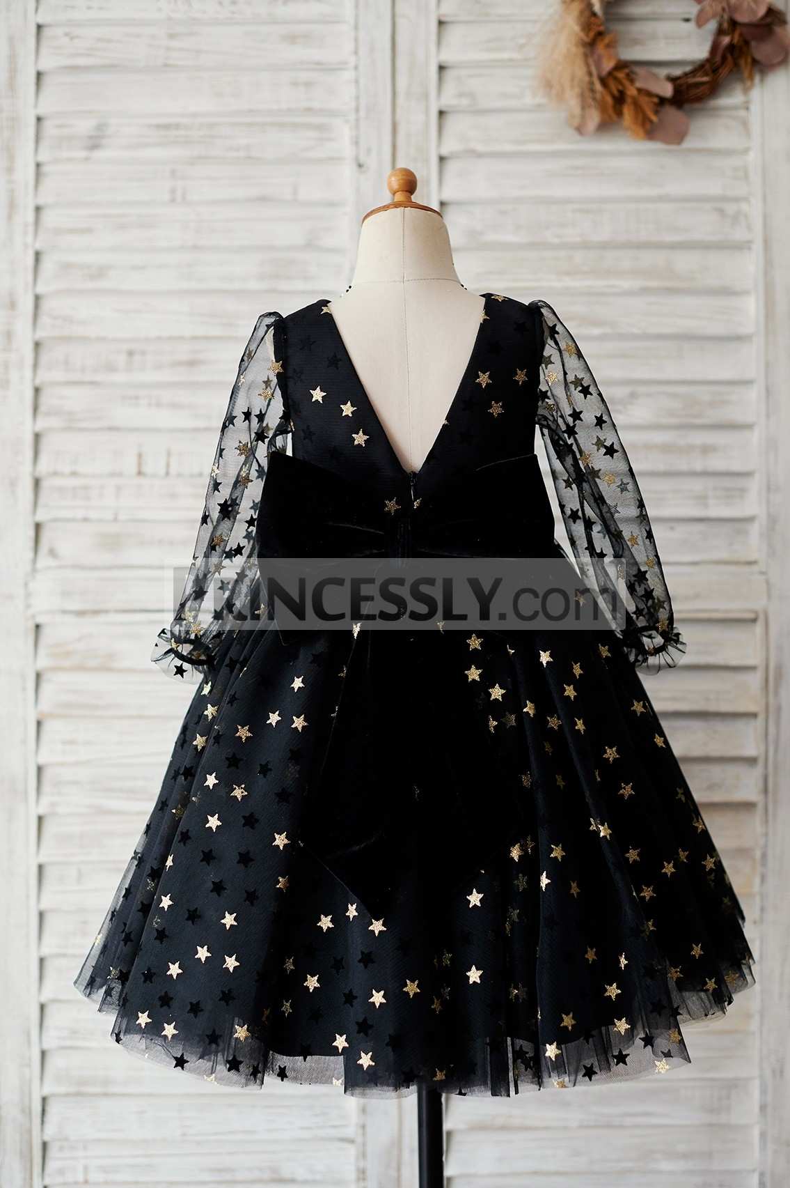Sheer long sleeves V neck black tulle wedding baby girl dress