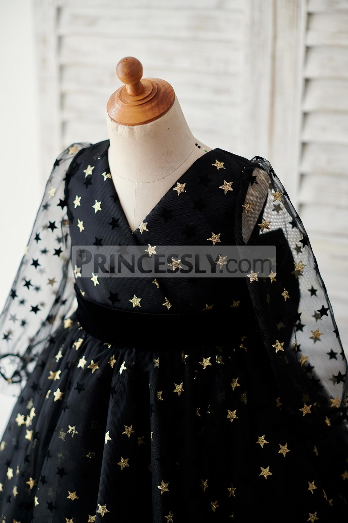 Sheer long sleeves and V neck bodice w/ black velvet belt
