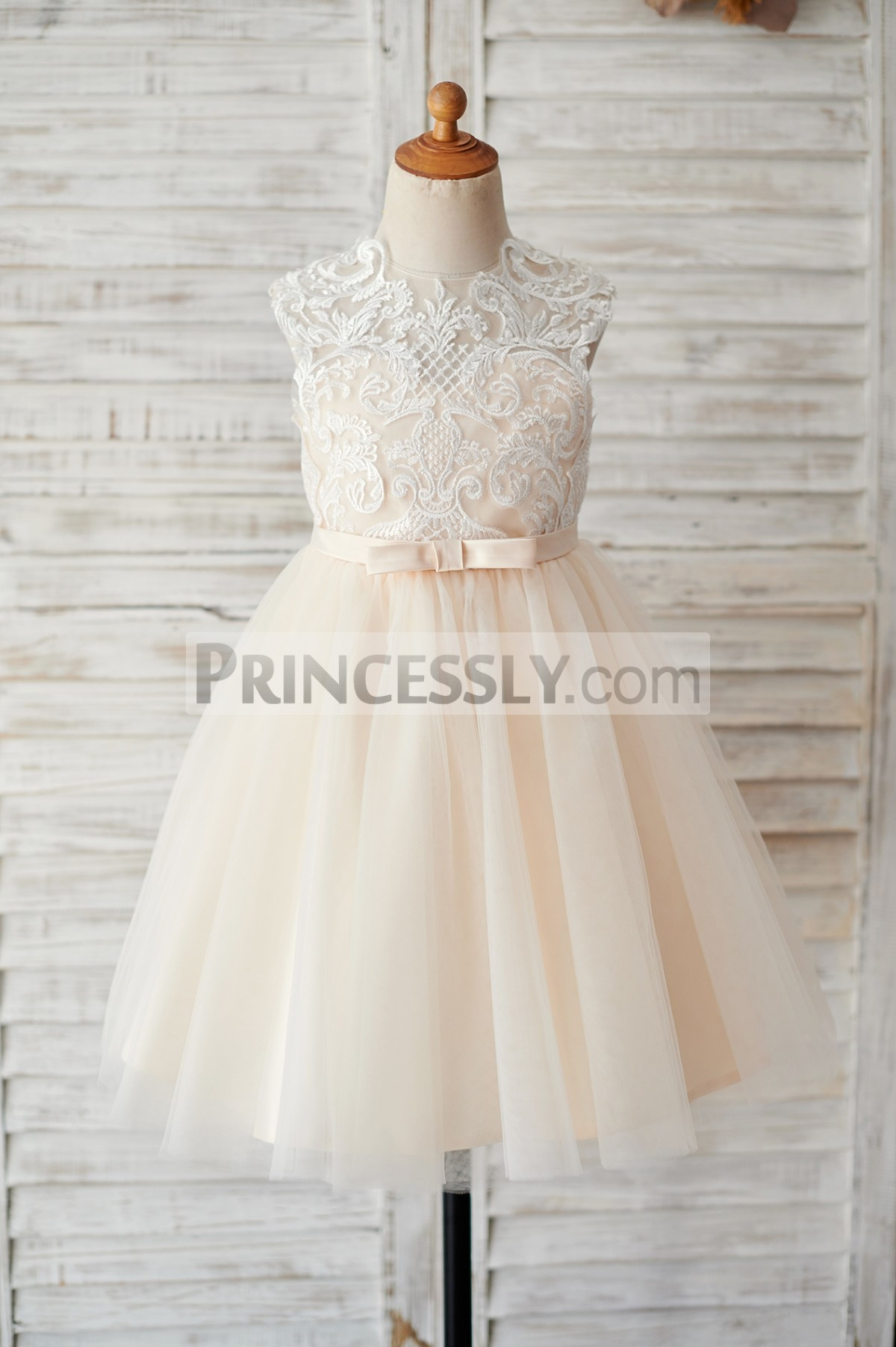 Ivory lace sweetheart champagne tulle flower girl dress