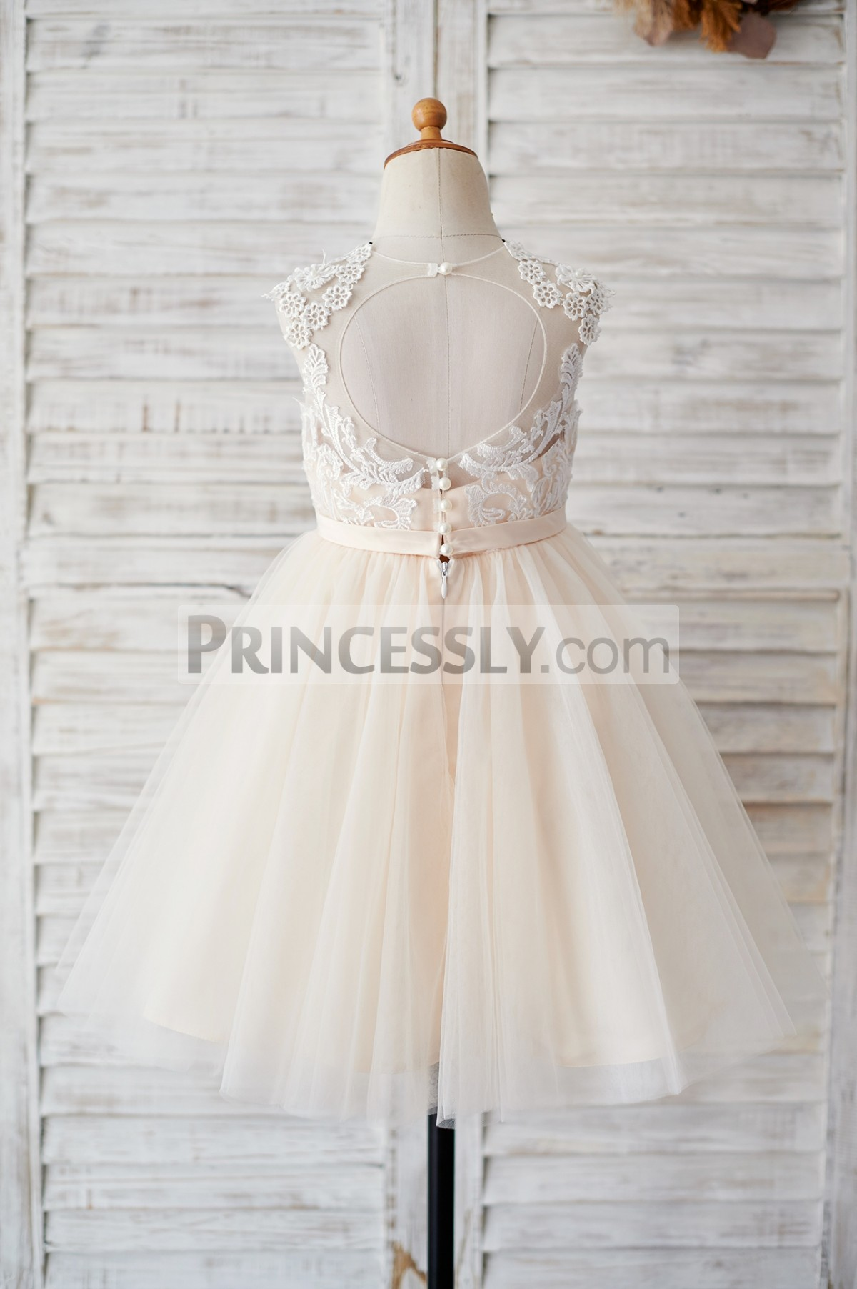 Keyhole back champagne tulle wedding baby girl dress