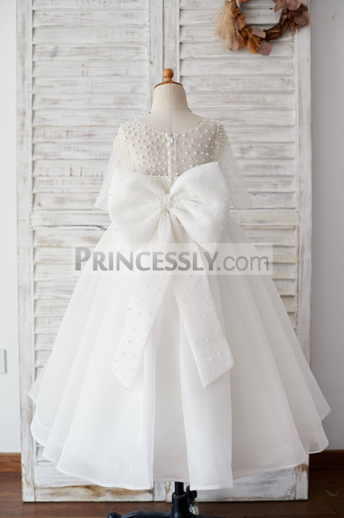 Pearled sheer back tulle wedding baby girl dress with big bow