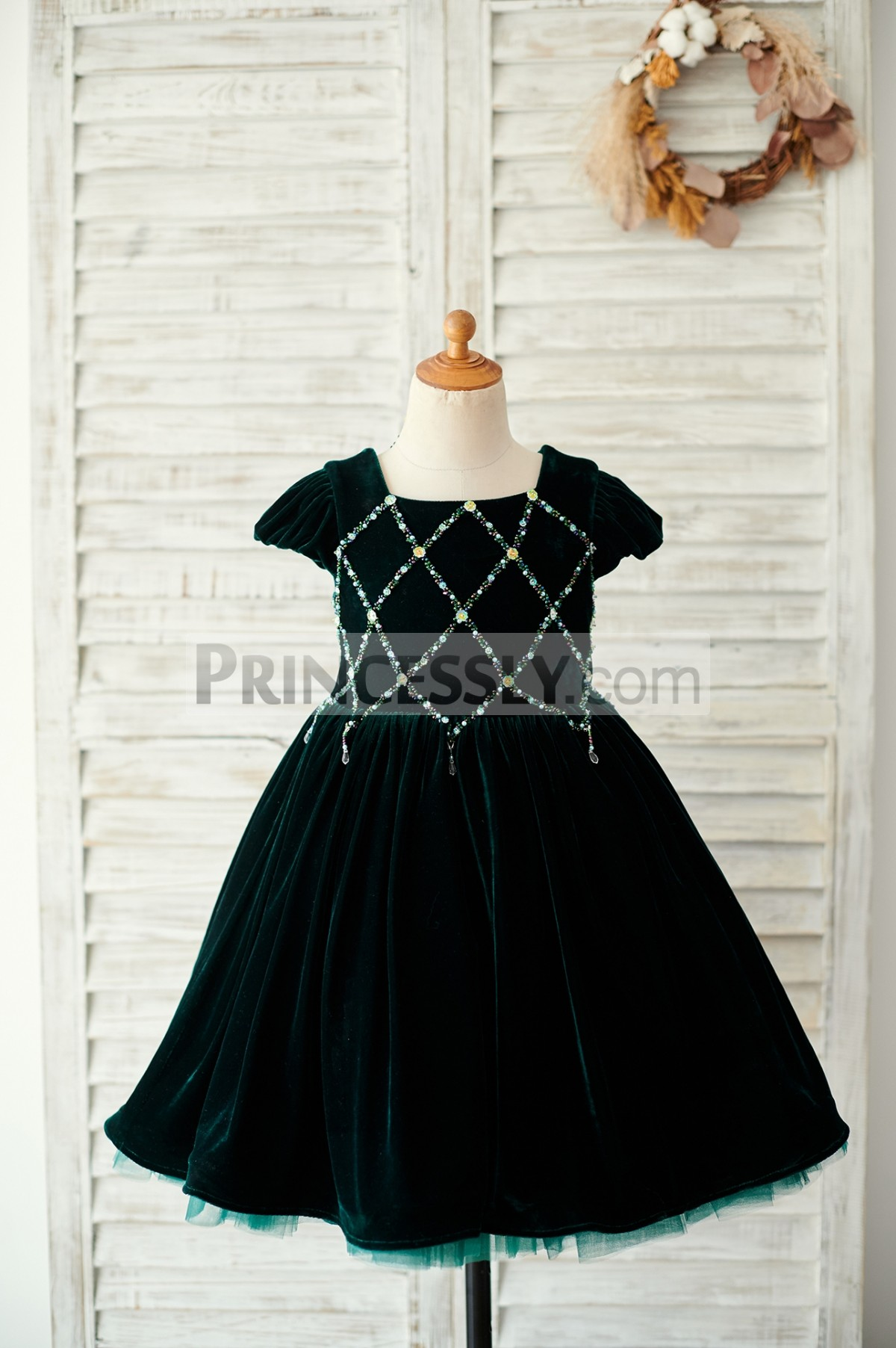 Colored beads green velvet flower girl dress