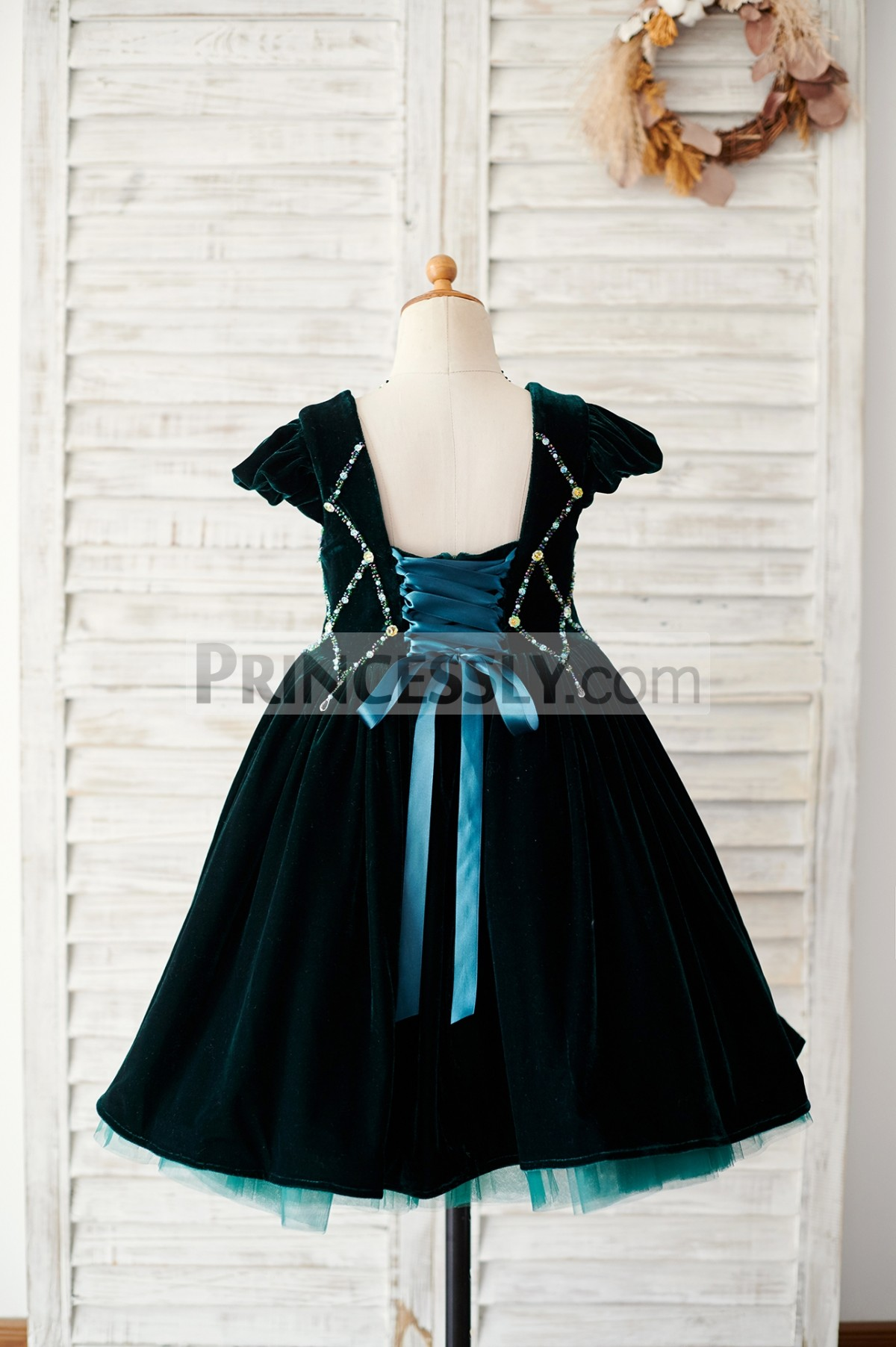 Open back corset wedding baby girl dress with tulle stick out hem