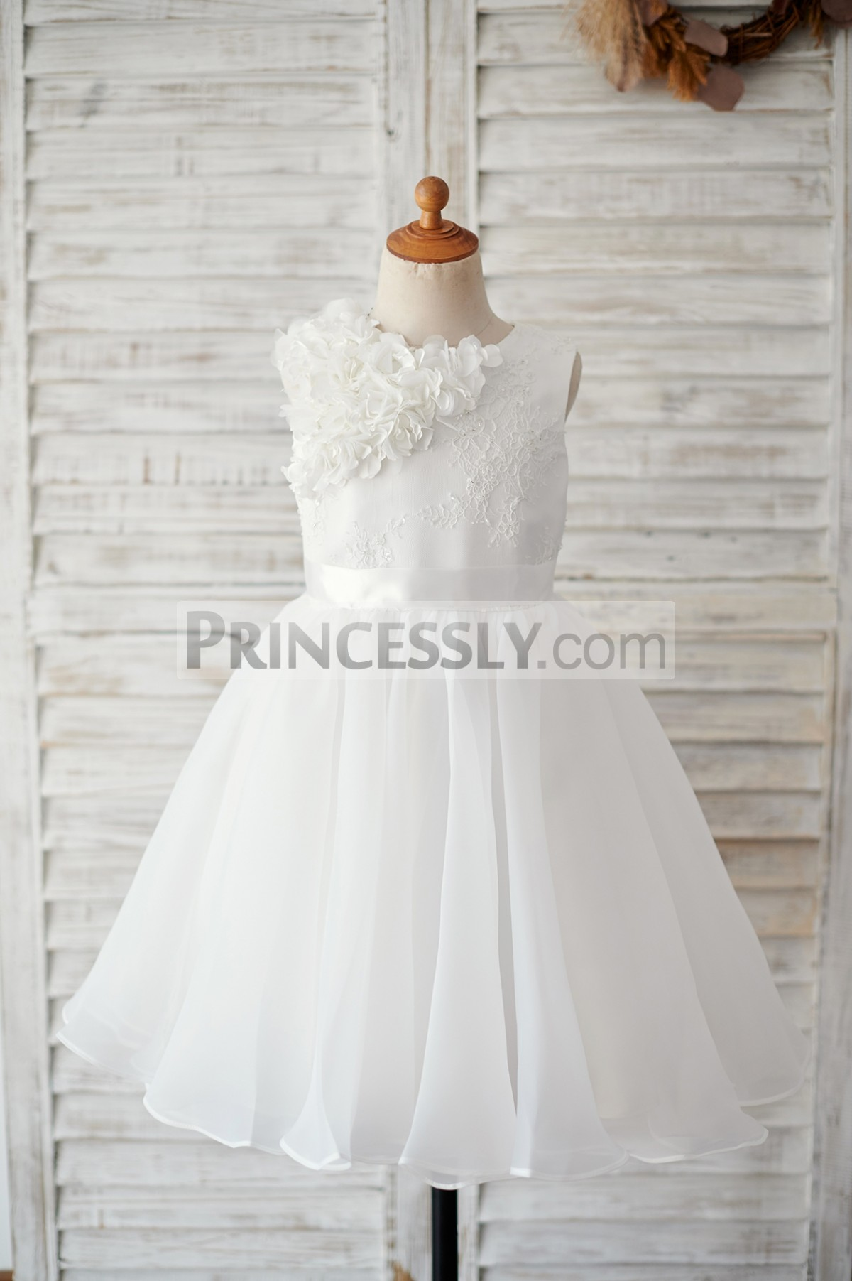Ivory lace organza flower girl dress