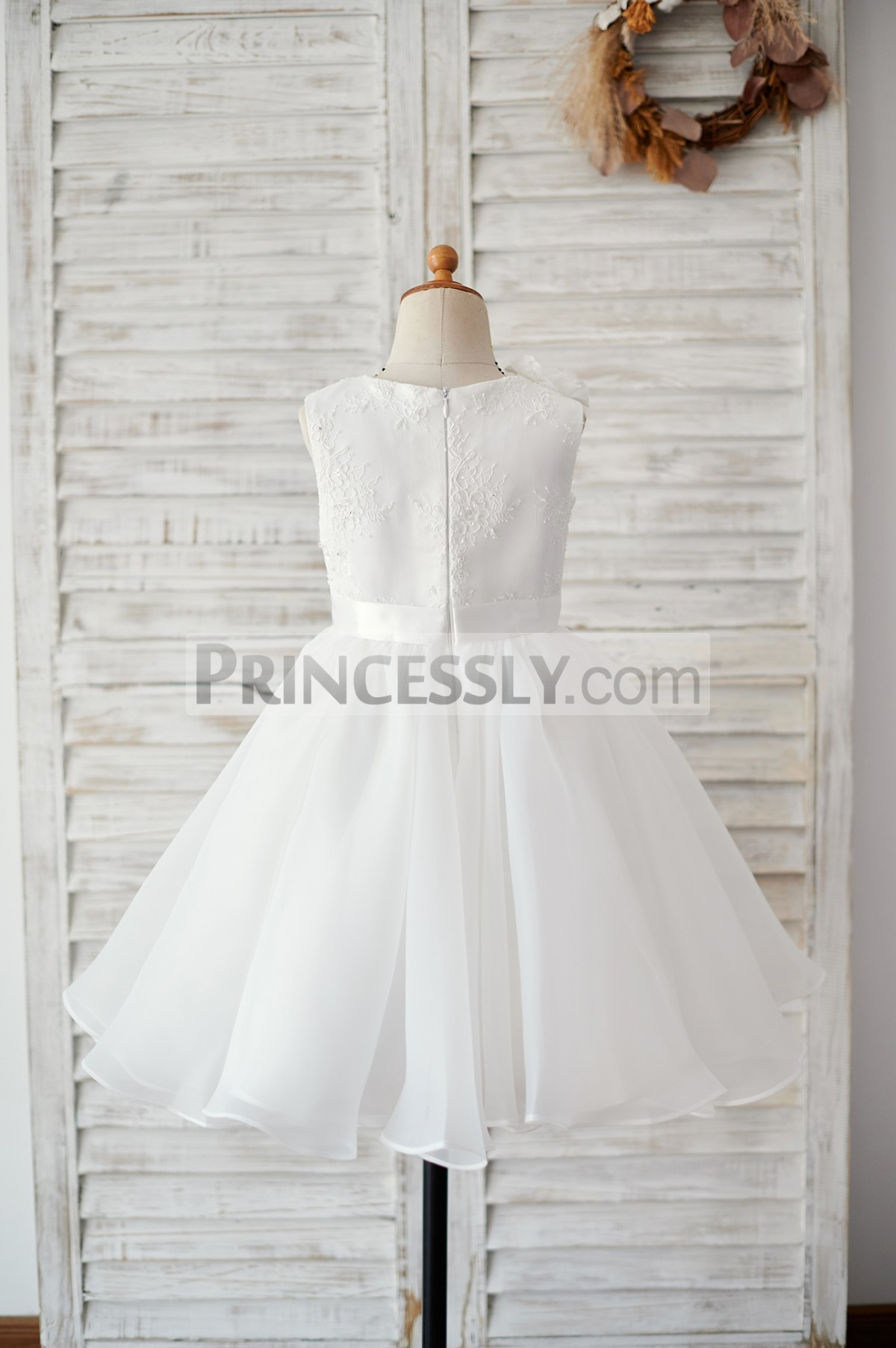 Lace organza ivory wedding baby girl dress