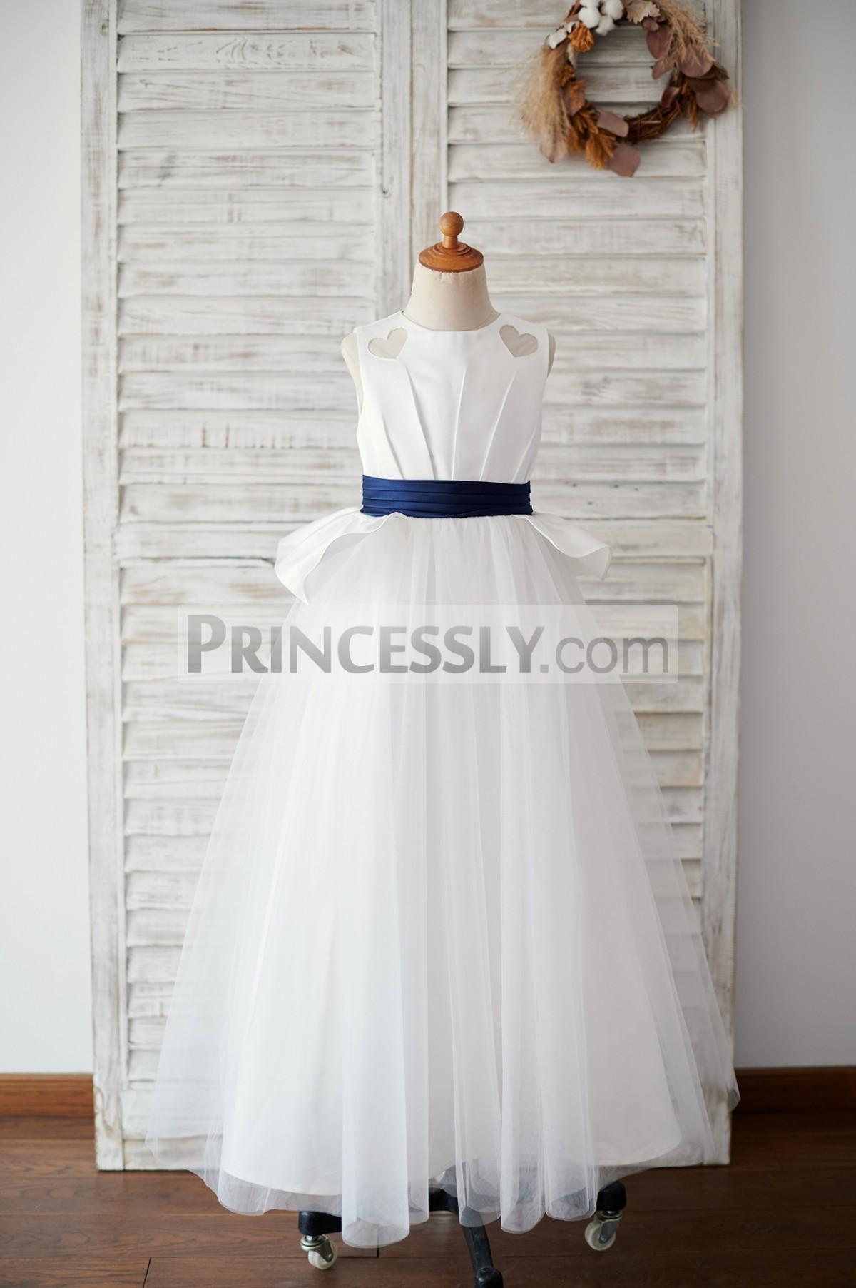 Ivory satin tulle floor length flower girl dress