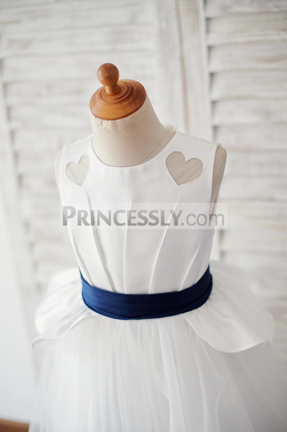 Heart shape cutout ivory satin bodice with navy blue belt
