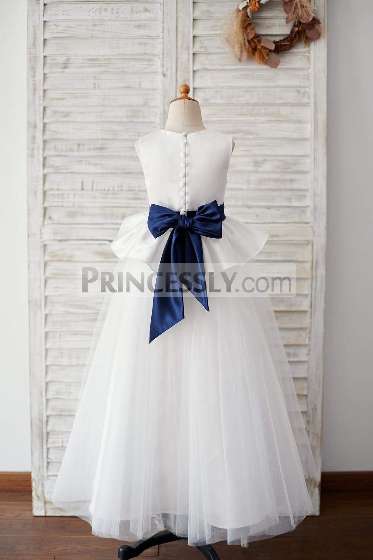 Satin tulle ivory long wedding baby girl dress