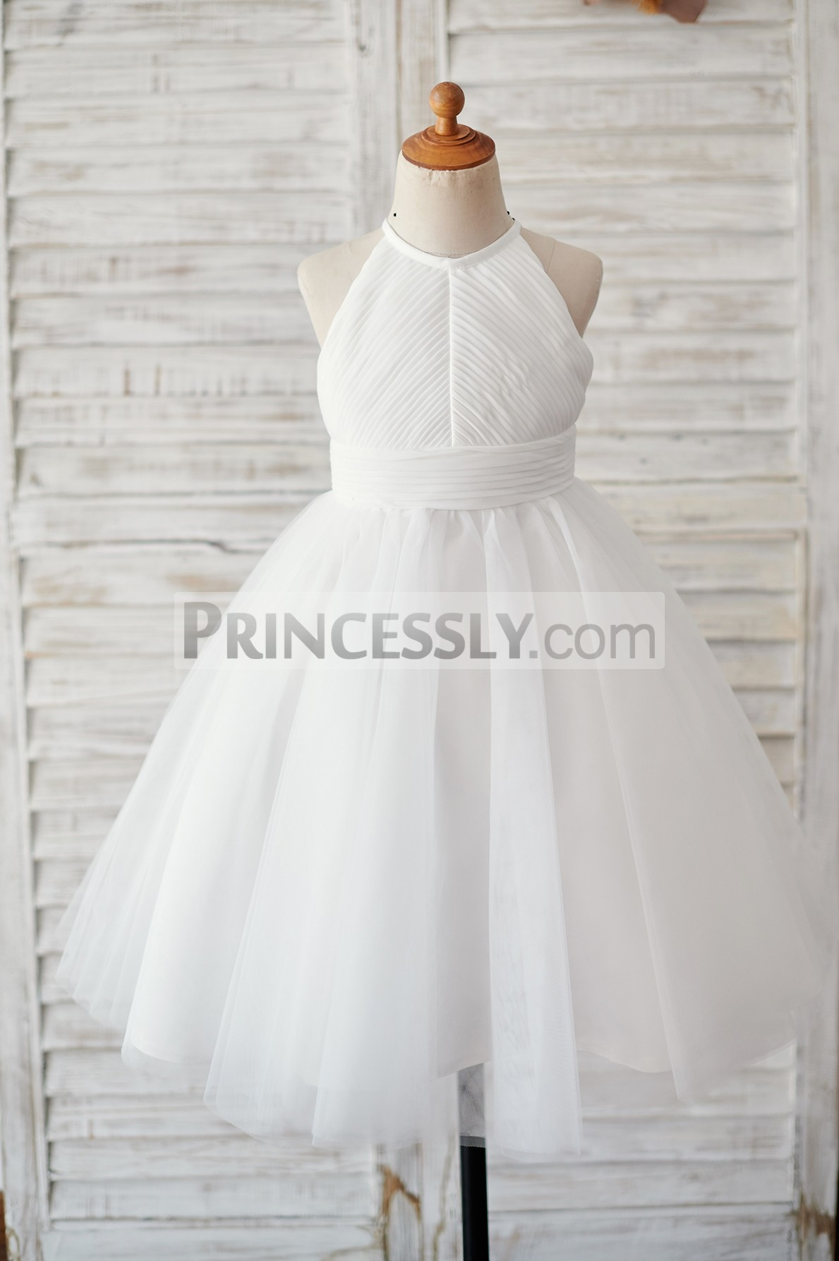 Ivory chiffon tulle flower girl dress