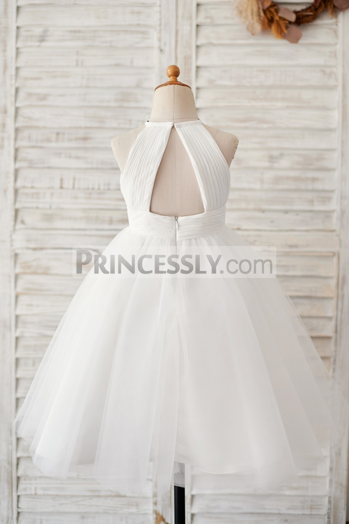 Keyhole back ivory princess wedding baby girl dress