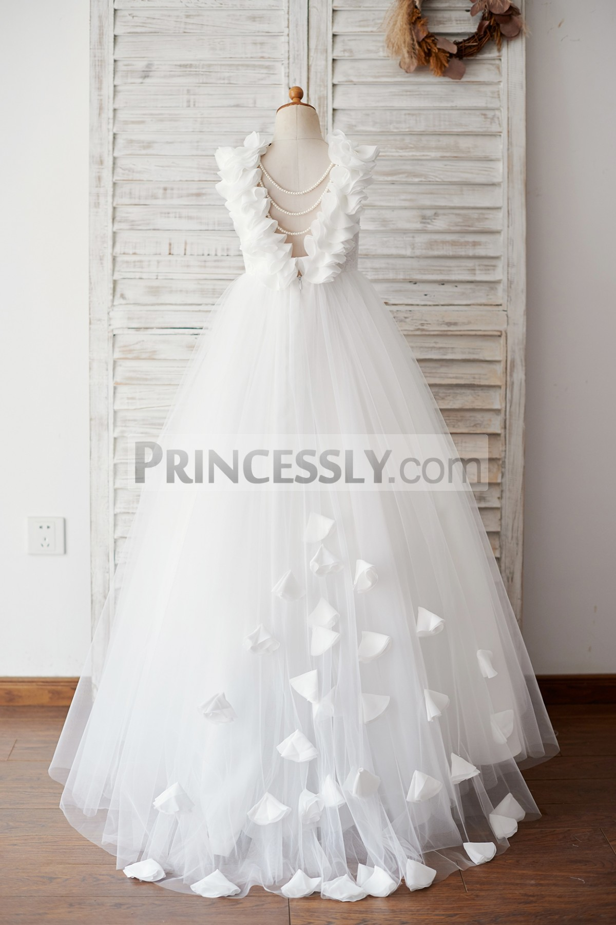 3D flowers V neck back wedding baby girl dress with small train