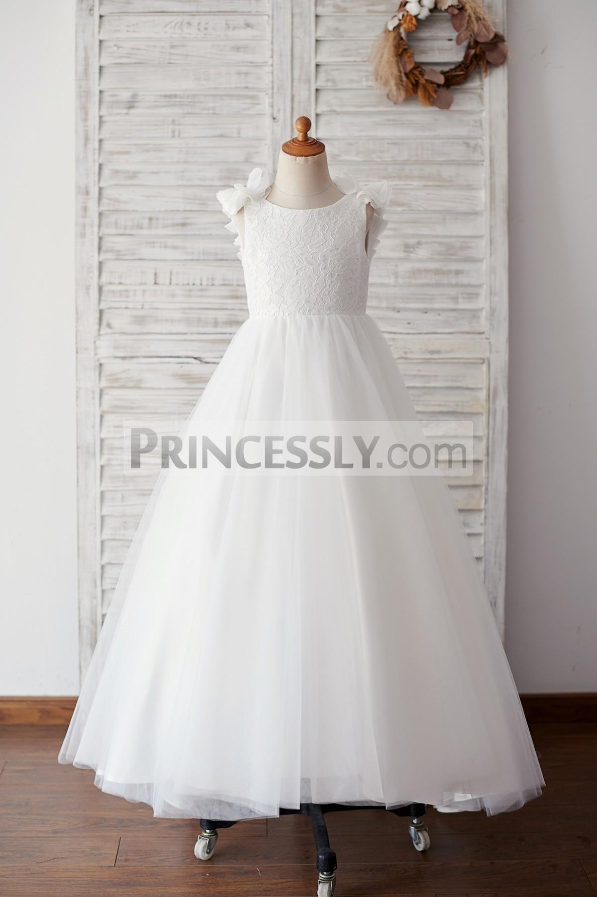 Ivory lace tulle floor length flower girl dress