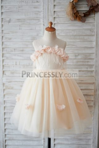 Princessly.com-K1003899-Illusion-Champagne-Tulle-Feathers-Wedding-Party-Flower-Girl-Dress-31