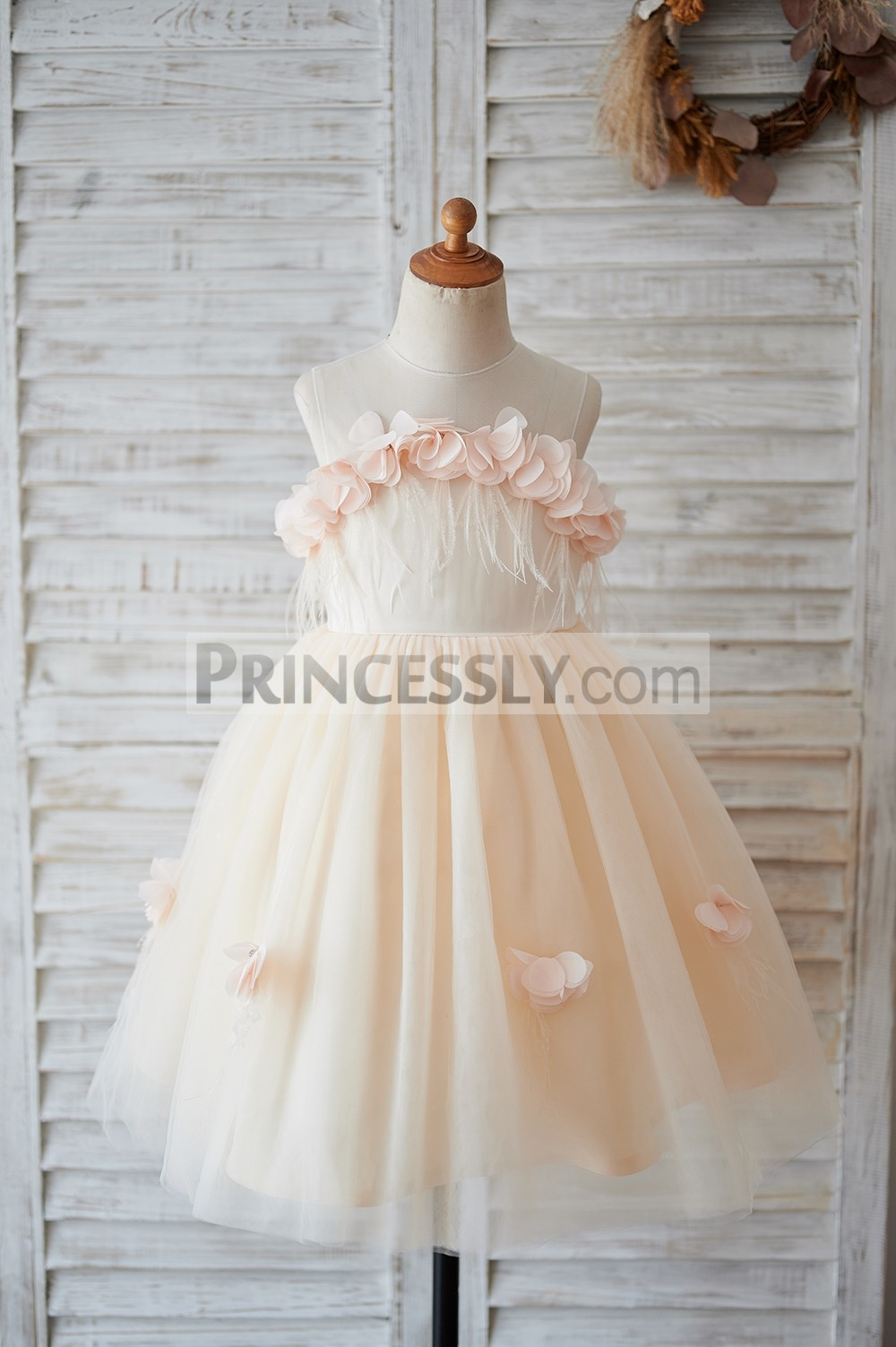 Illusion neck 3D flowers champagne tulle flower girl dress