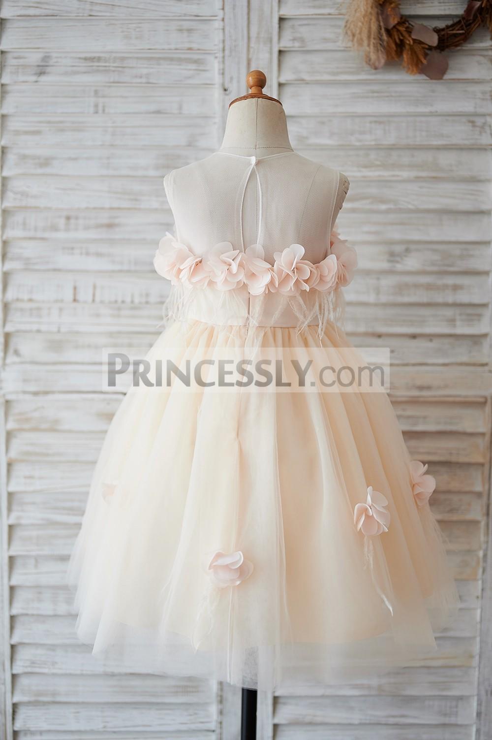 Sheer back champagne tulle wedding baby girl dress