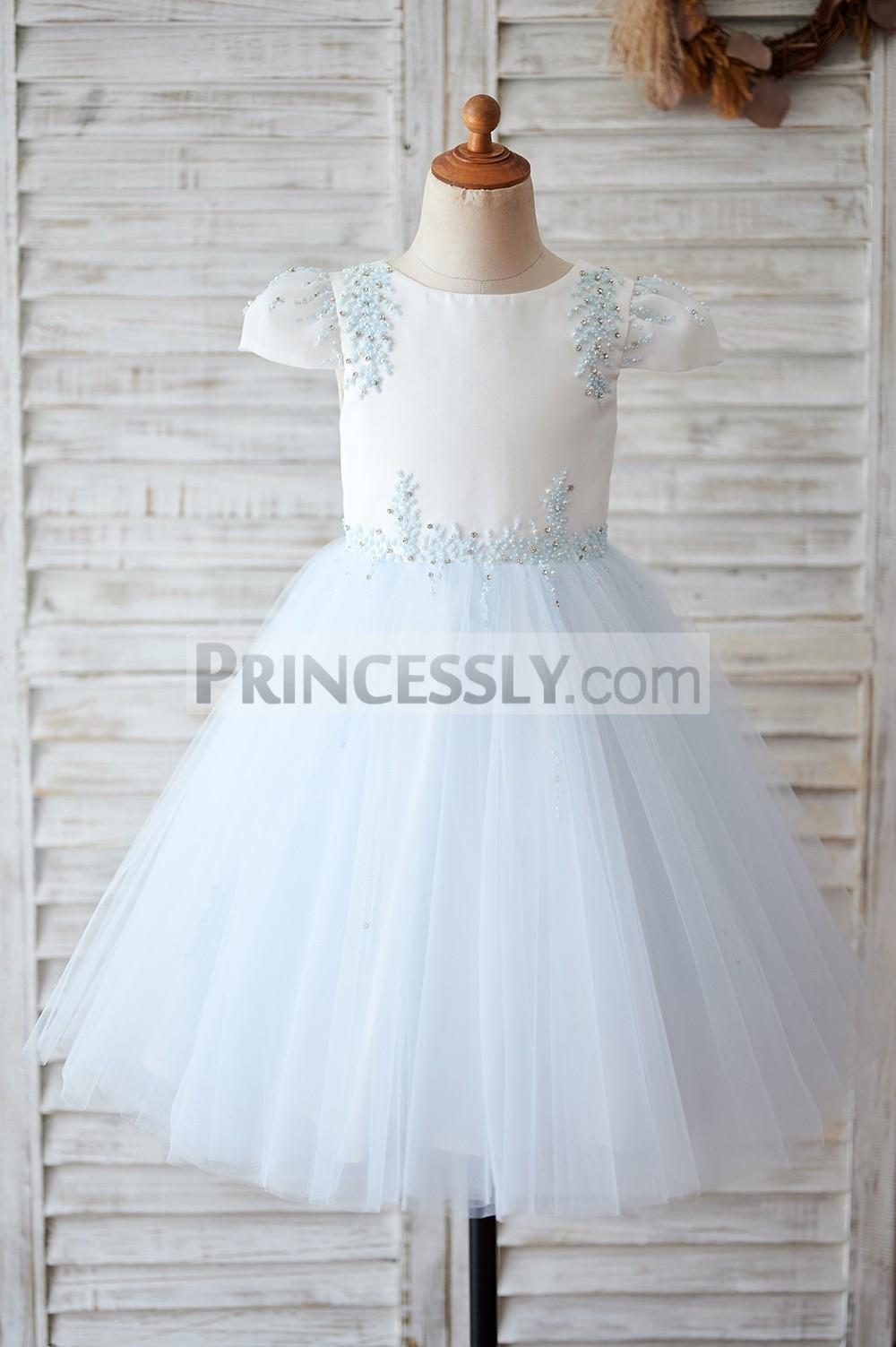 Beaded ivory satin blue tulle flower girl dress