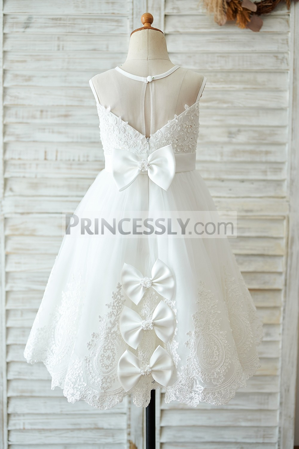Ivory wedding baby girl dress with bows