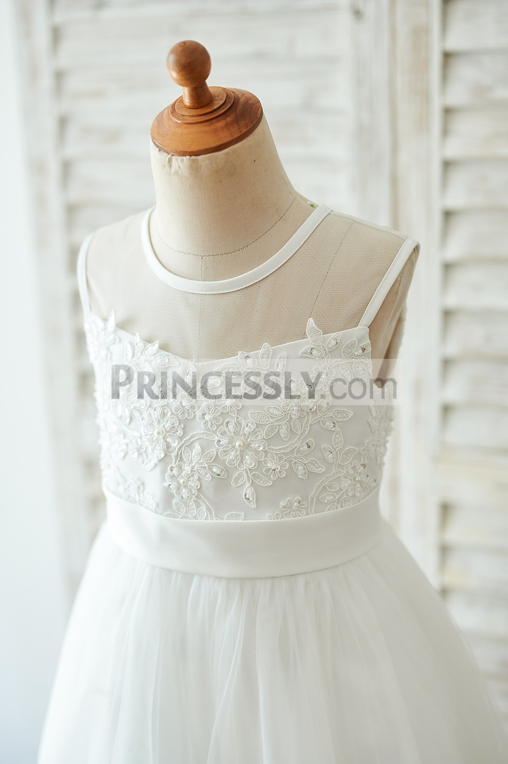 Sheer neck beaded ivory lace appliqued bodice with belt