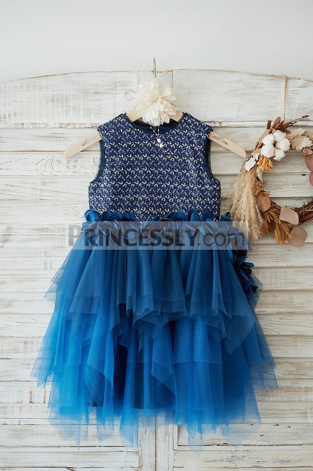 Navy blue / silver sequined navy blue tulle flower girl dress