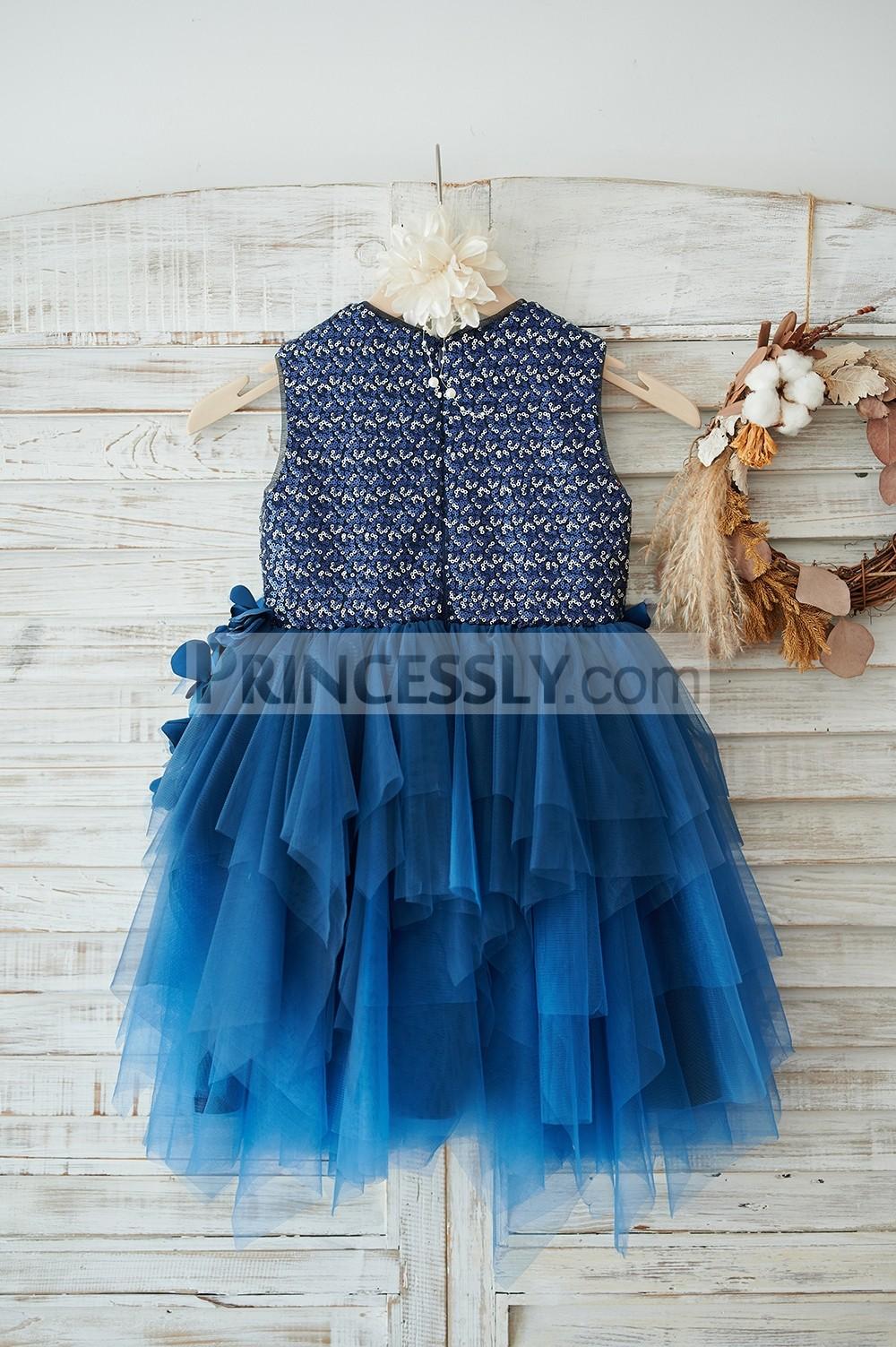 Navy blue tulle uneven skirt  wedding baby girl dress