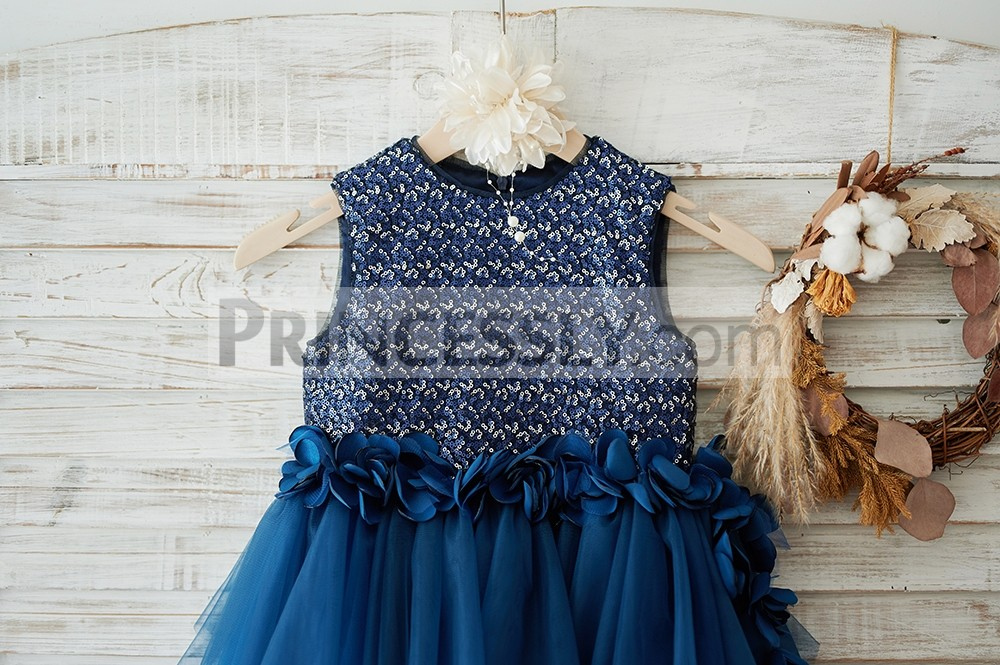 Mixed silver \ navy blue sequins bodice with handmade flowers on front waist