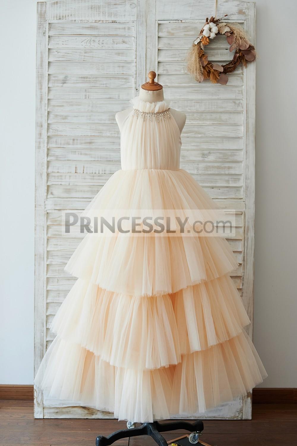 Halter neck champagne tulle cupcake long flower girl dress