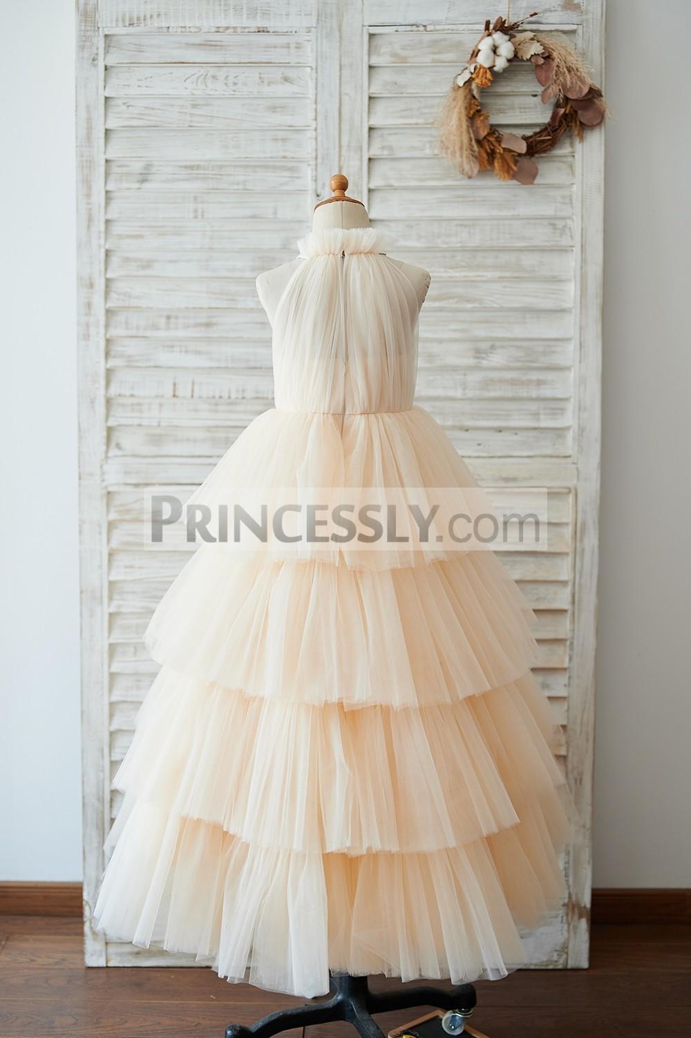 Ruffled halter neck floor length tulle wedding baby girl dress