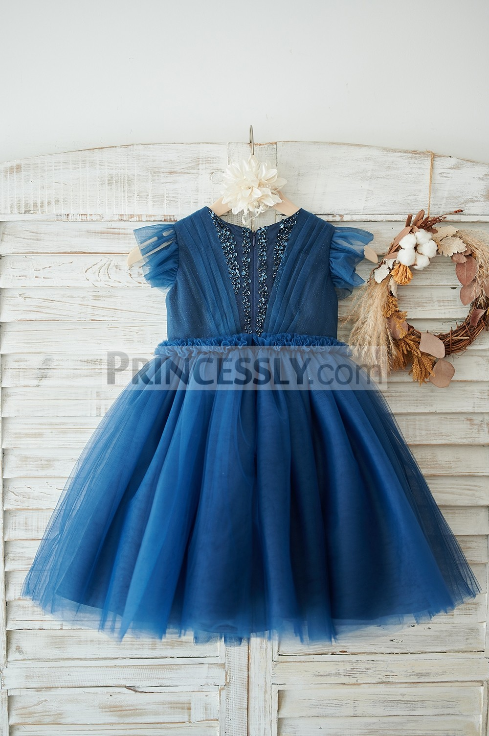 Beaded ruffled cap sleeves navy blue wedding baby girl dress