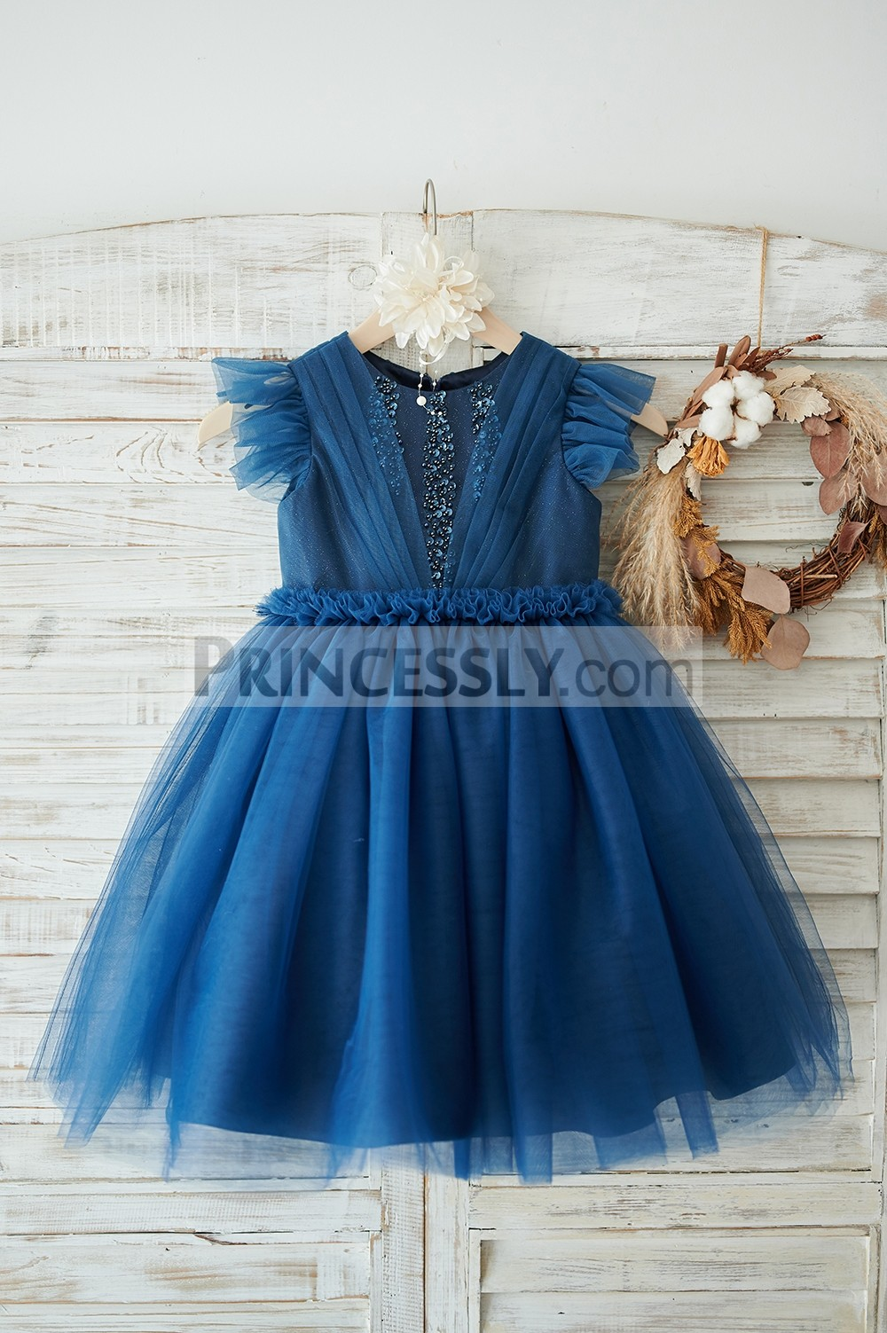 Navy blue glitter tulle flower girl dress
