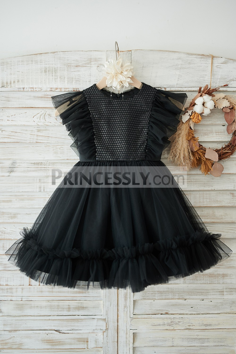 Black sequins tulle flower girl dress