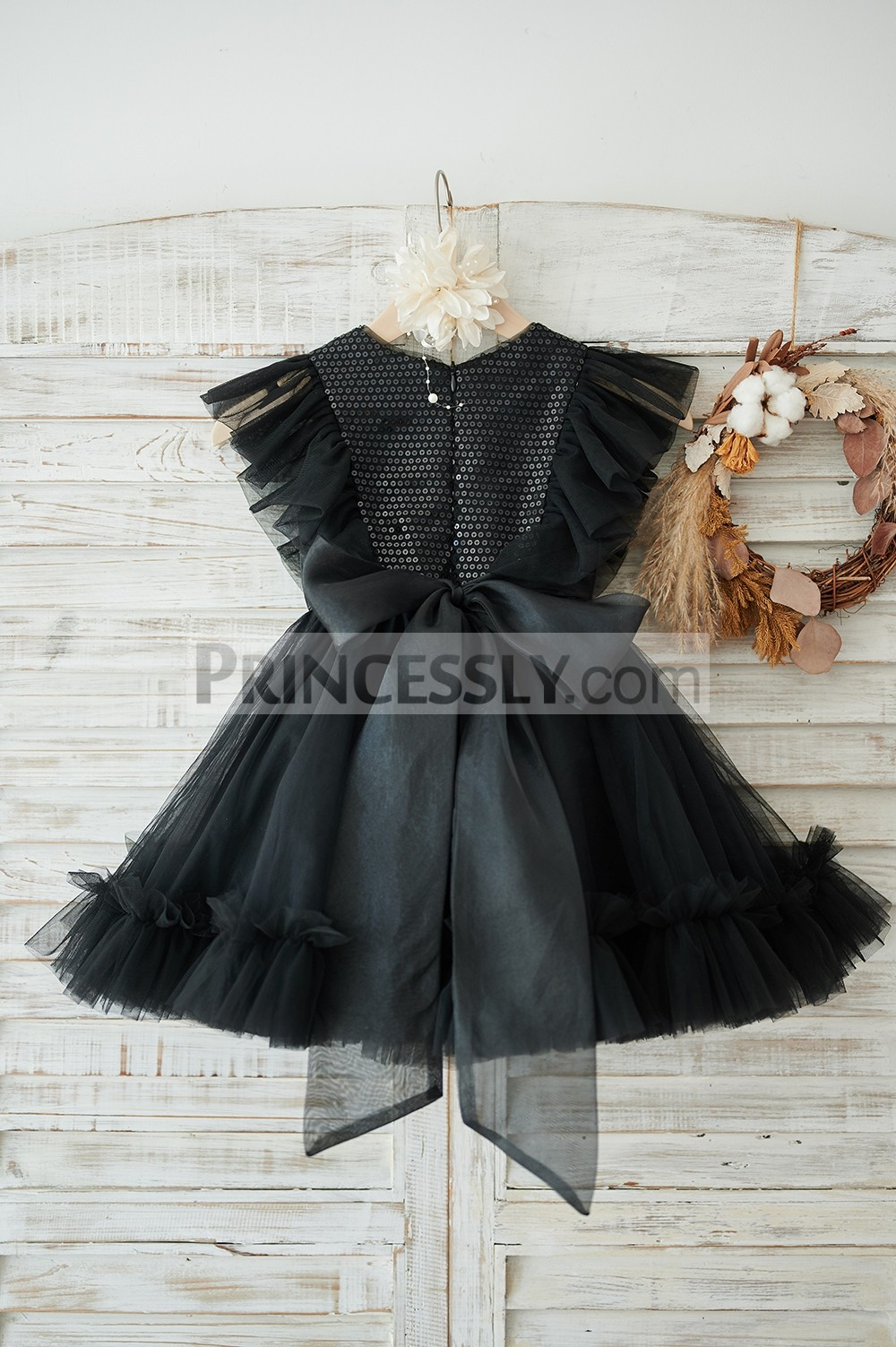 Ruffles sleeves black tulle wedding baby girl dress