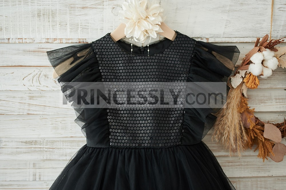 Black sequins bodice with tulle made ruffles sleeves