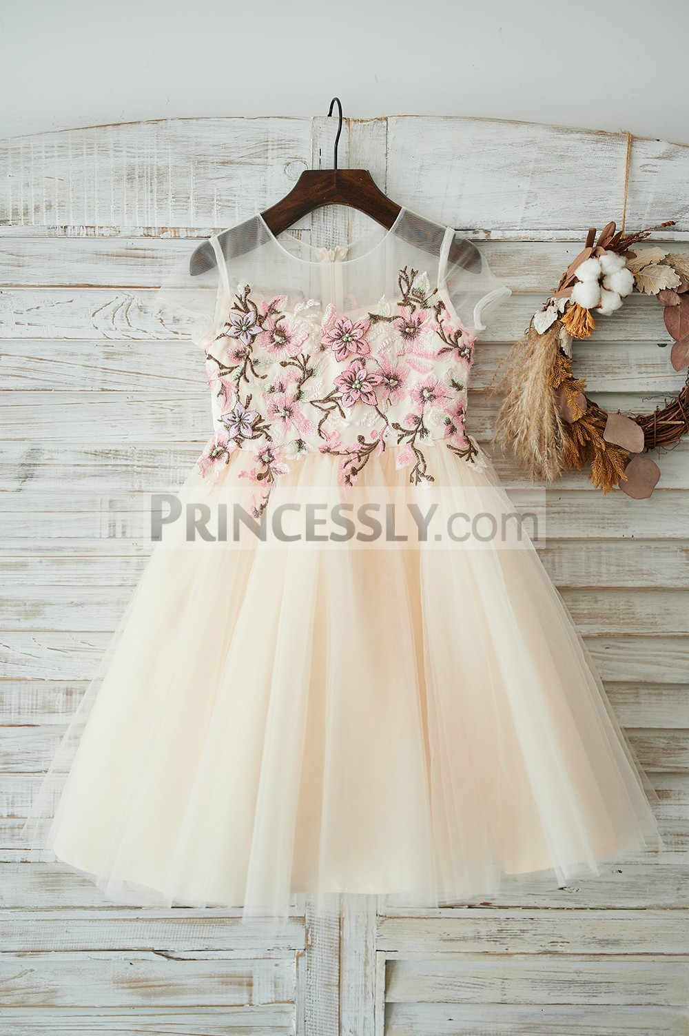 Colored embroidery lace champagne tulle flower girl dress