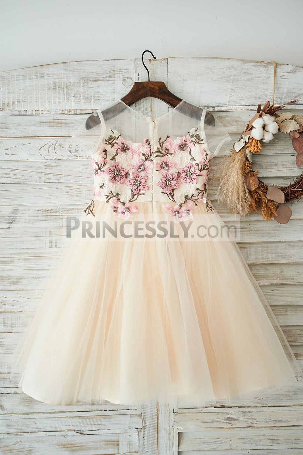 Sheer neck cap sleeves champagne tulle wedding baby girl dress