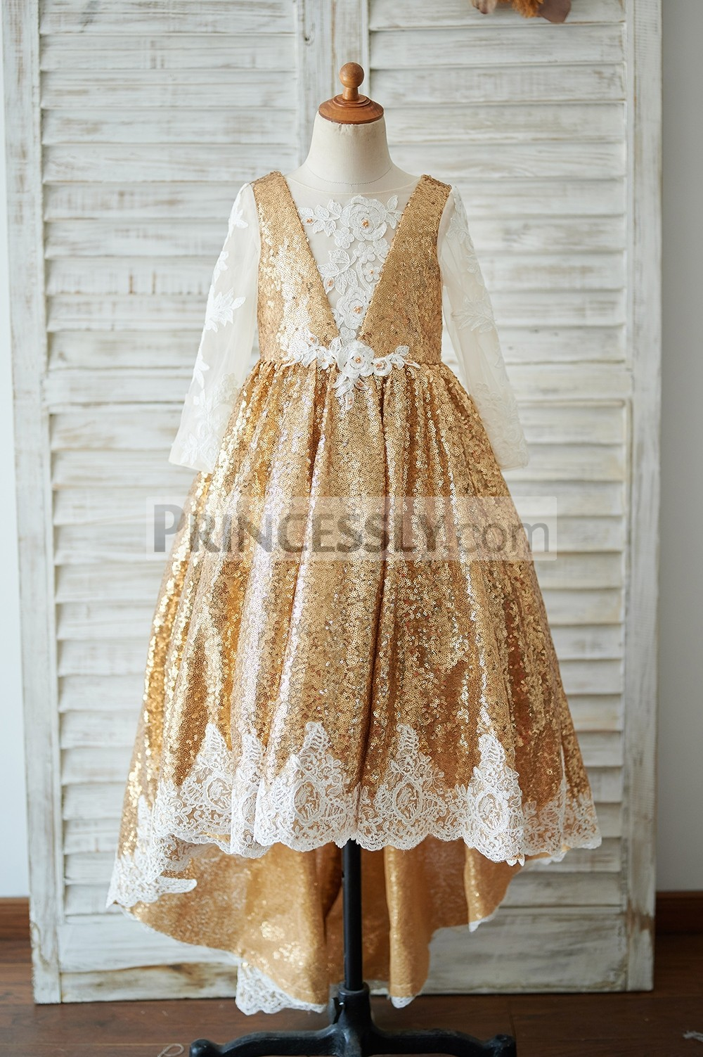 Gold sequins high low flower girl dress with ivory lace appliques
